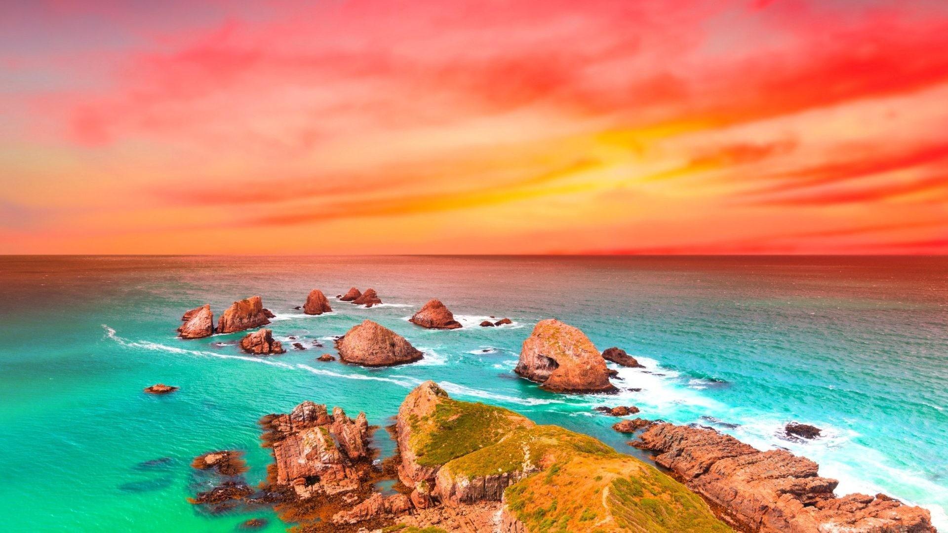 Beautiful Shore Colorful Sunset Sea Rocks Colors Ocean Magnificent Scenery  Wallpaper For Ipad – 1920×1200