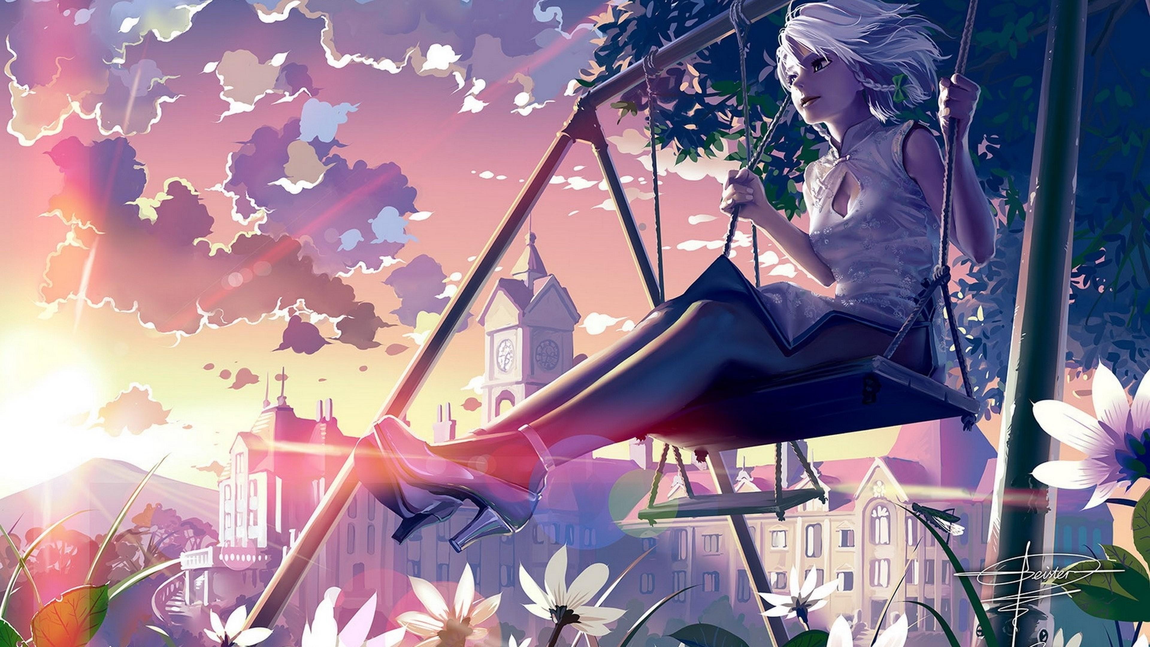 Wallpaper girl, swing, street, building, summer, sunset
