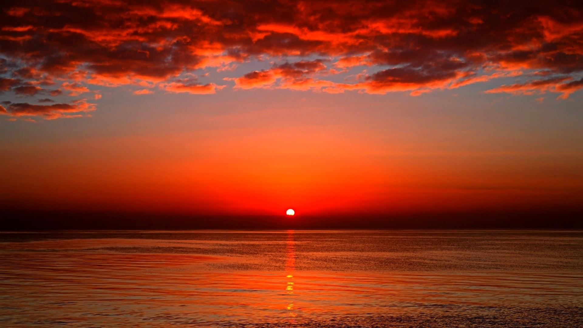 Clouds Summer Horizon Sunset Nature Sky Ocean Wallpaper Hd