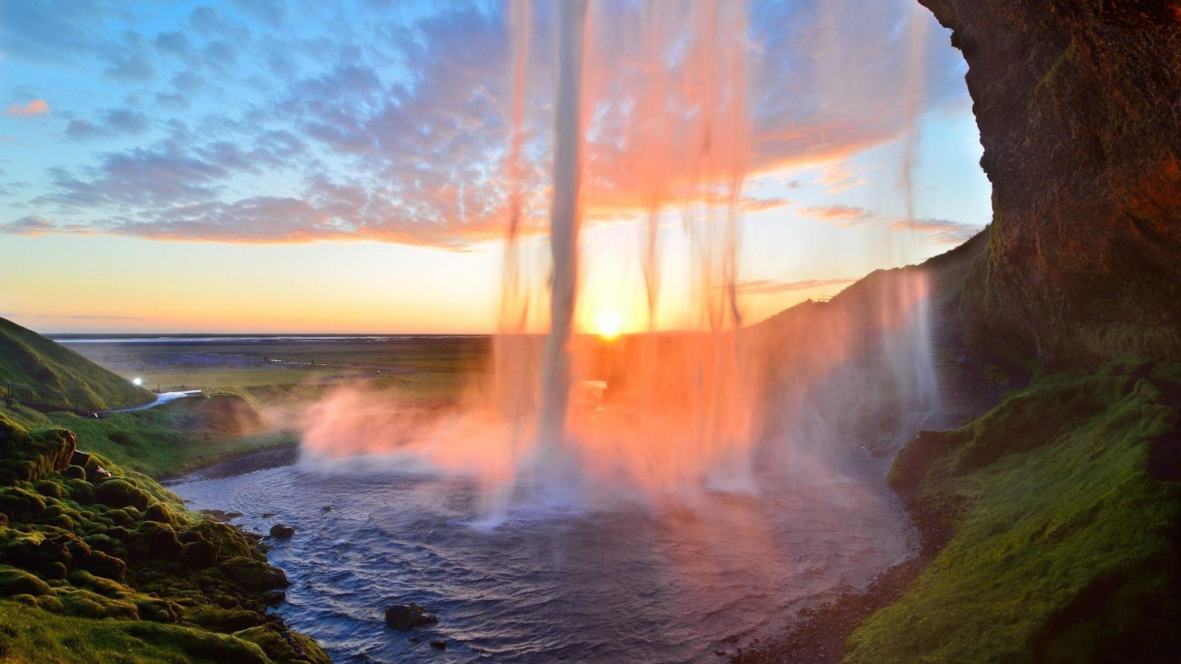 Wallpaper waterfall, lake, summer, sunset, grass