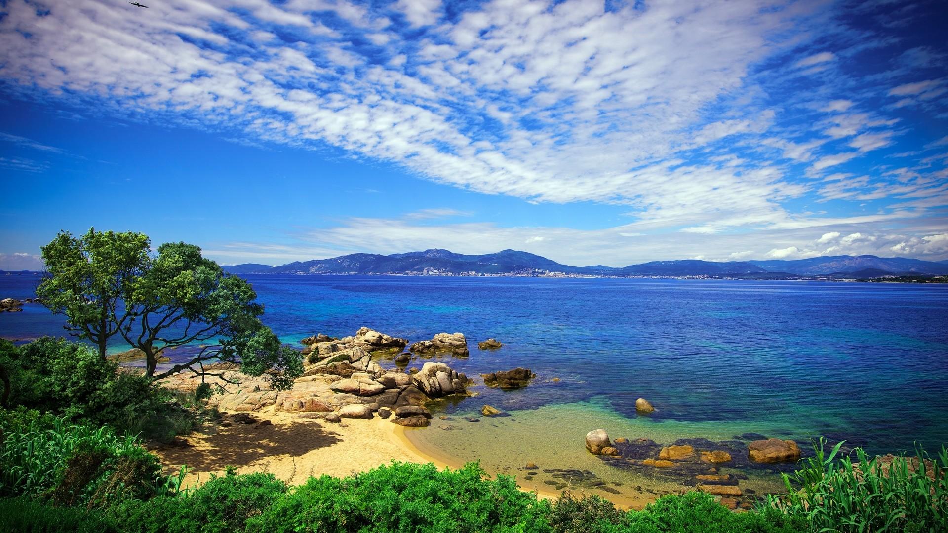 Preview wallpaper beach, sky, grass, sea, beautiful scenery 1920×1080