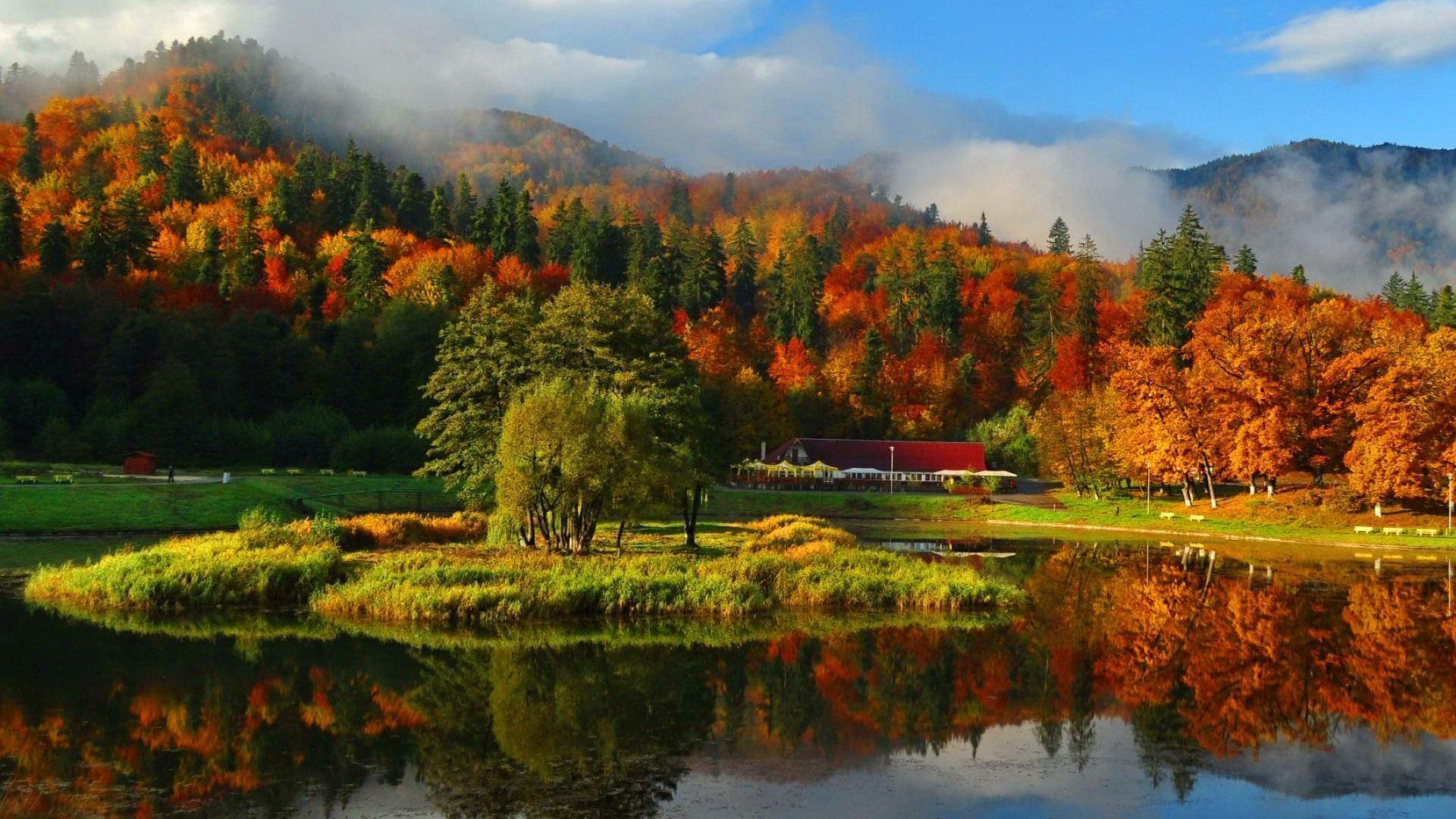 Misty autumn mountain wallpapers HD.