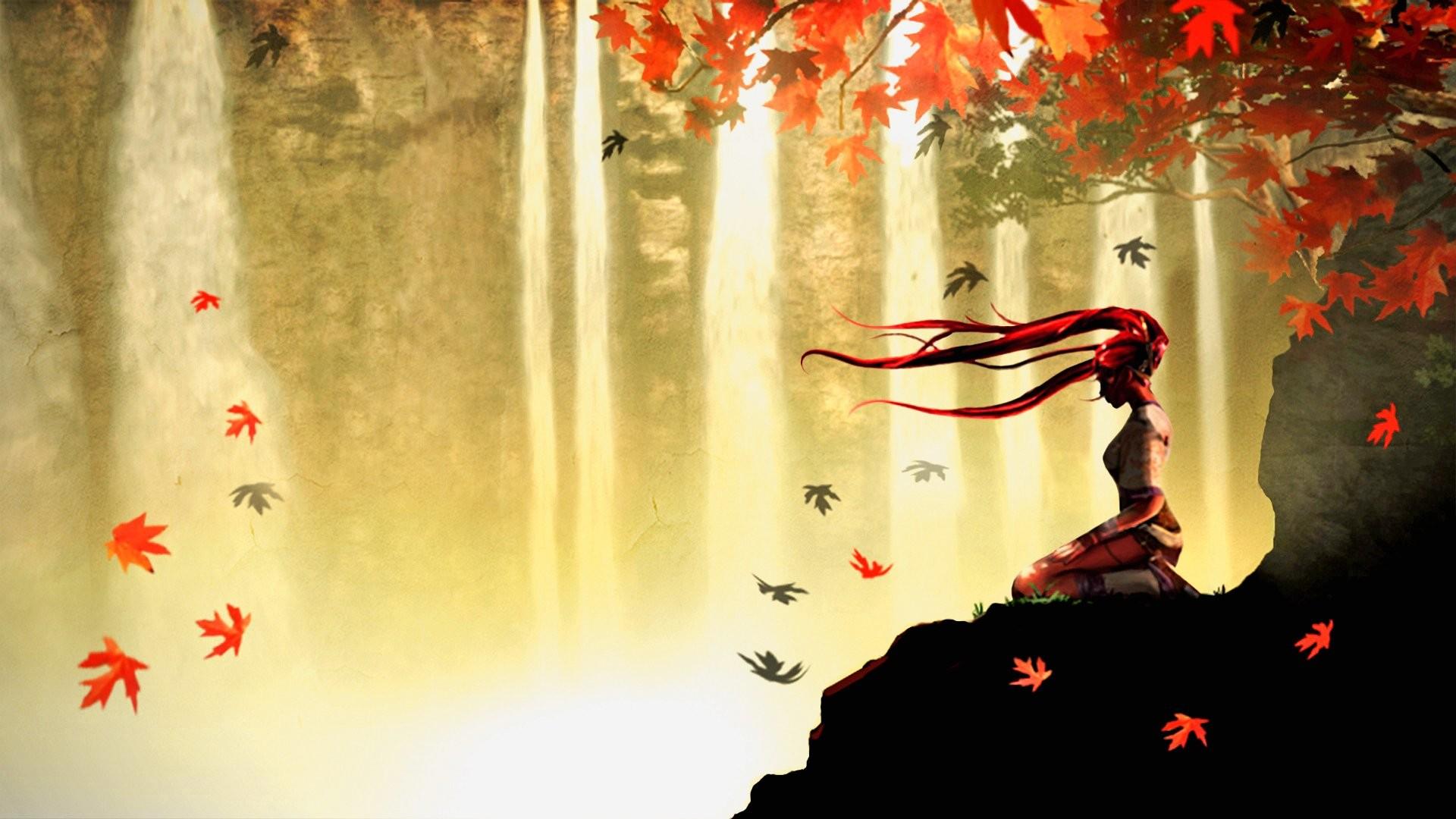 Wallpaper autumn meditation anime 1920 x 1080 full hd
