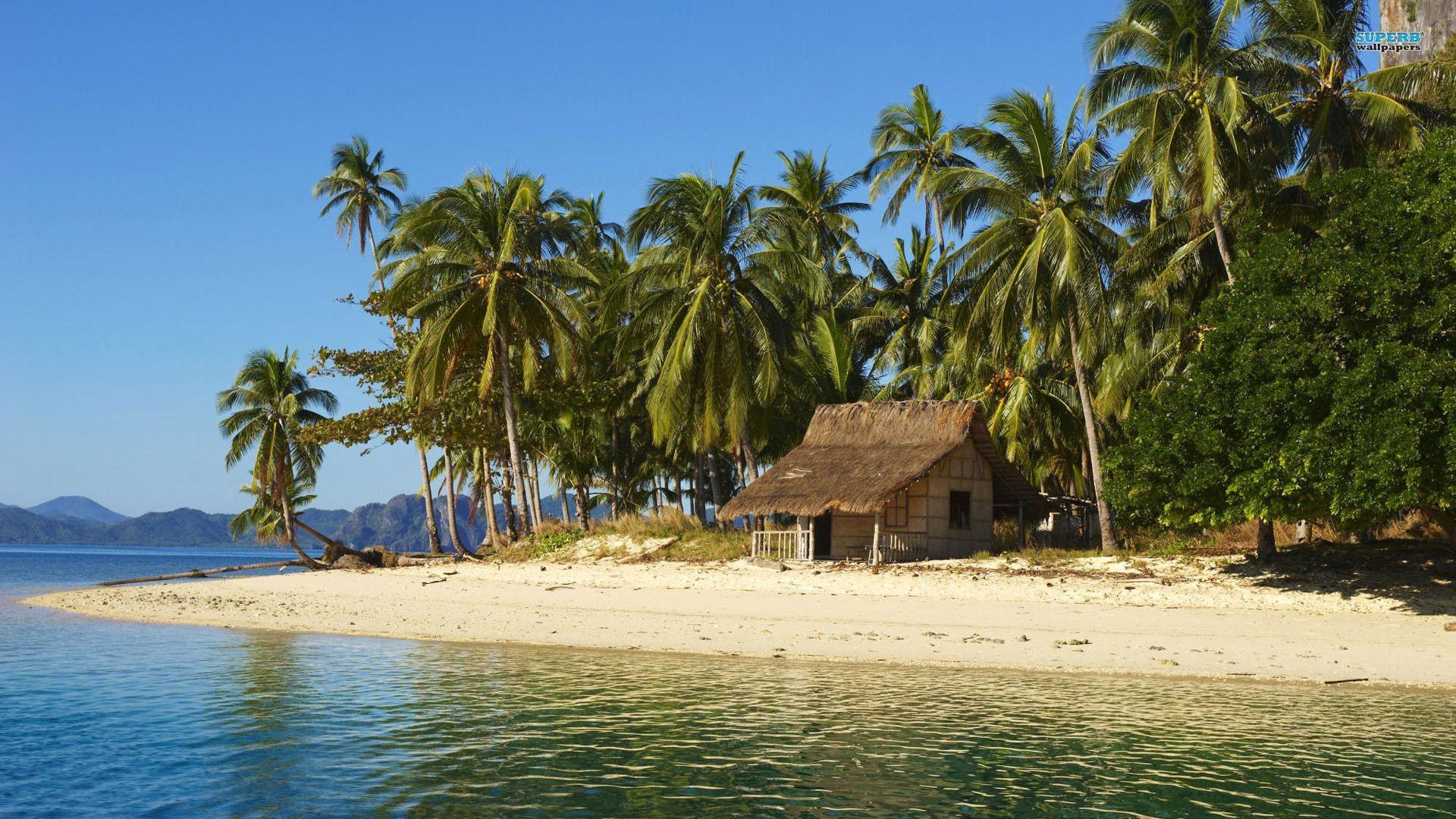 Beach House On Tropical Island HD Wallpaper