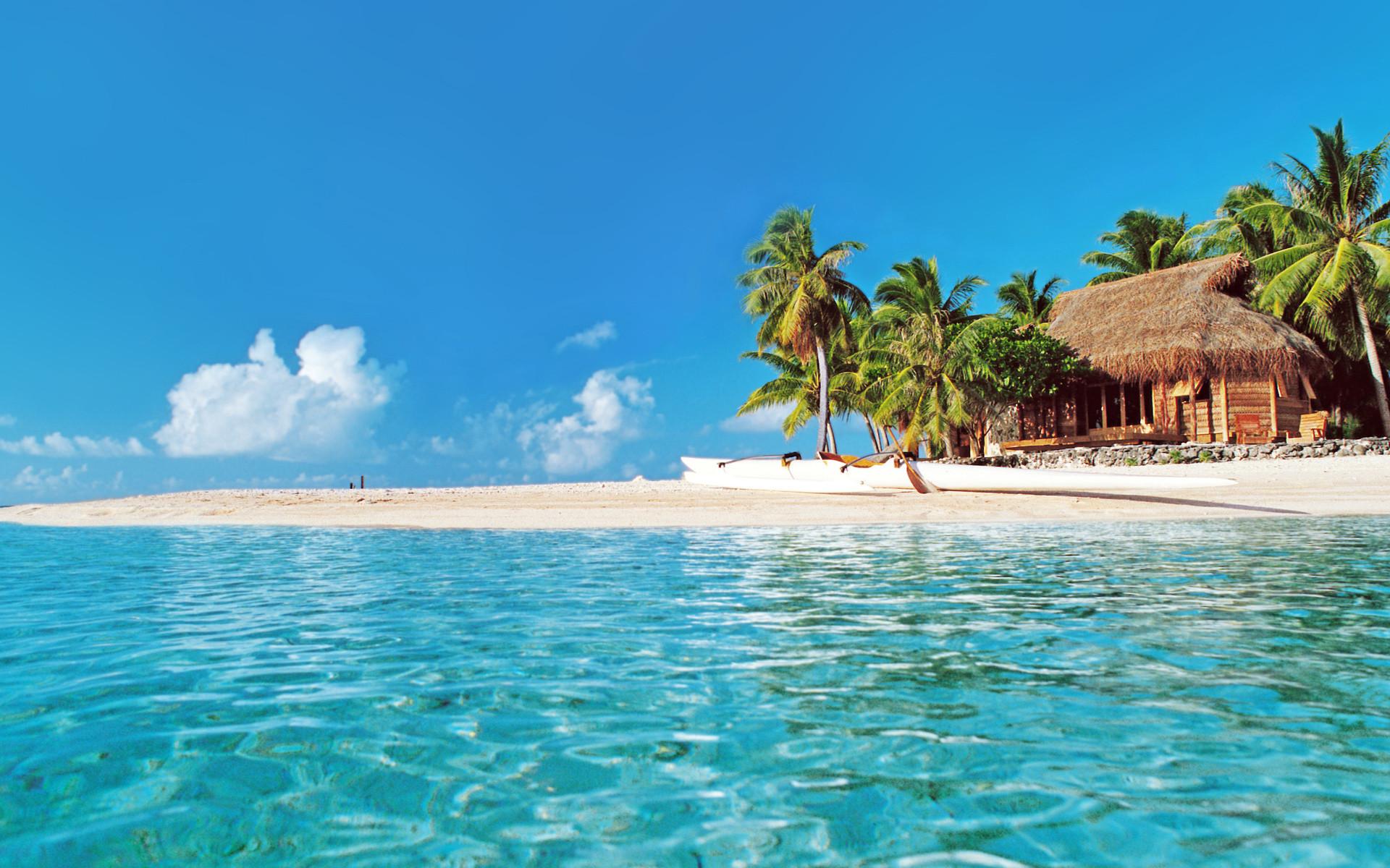 Photography – Beach Canoe Palm Tree Earth Nature Ocean Tropical Hut  Wallpaper