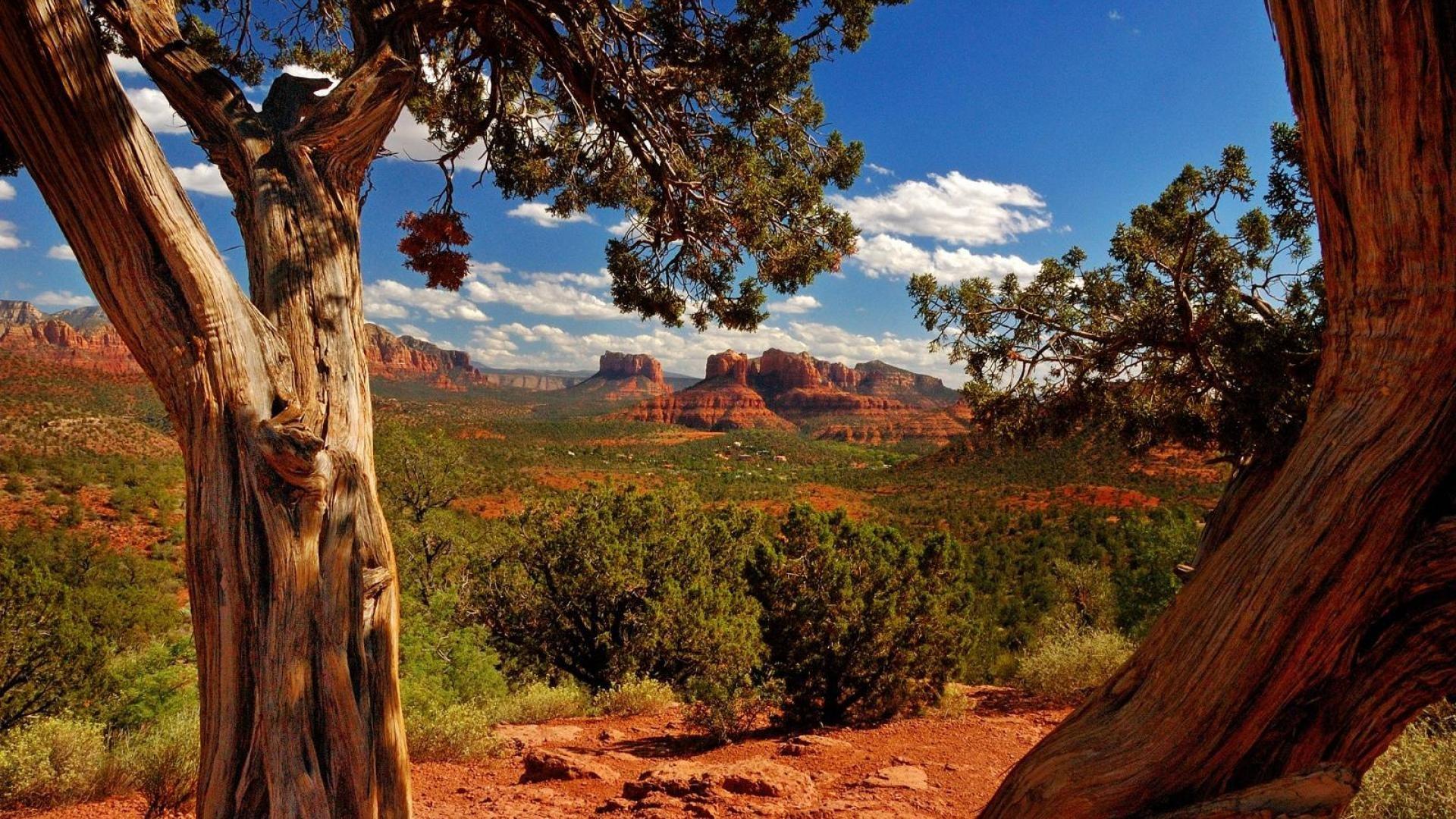 View Of Desert Canyons In Sedona Arizona HD Desktop Background