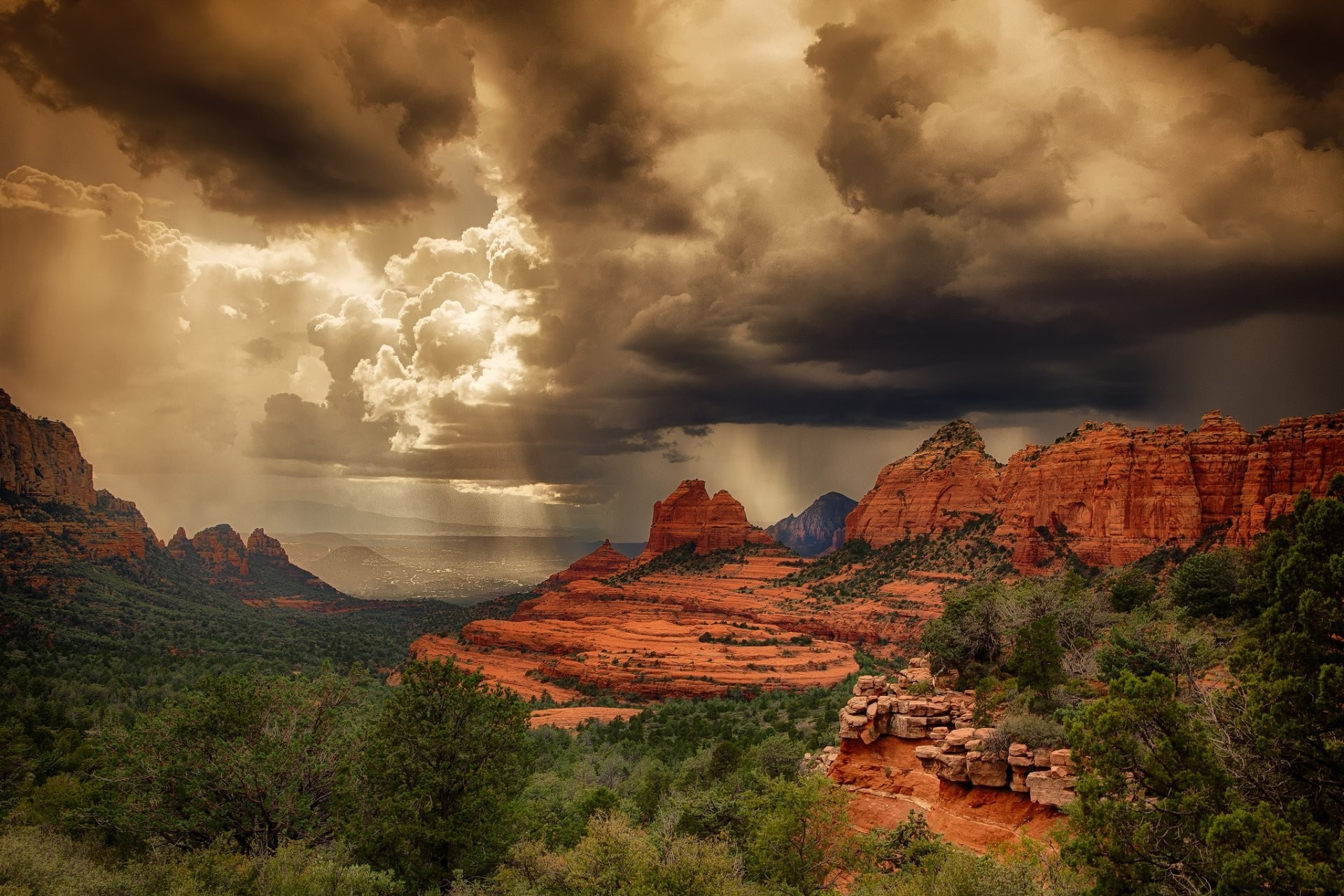 united states arizona desert sedona storm summer rock light