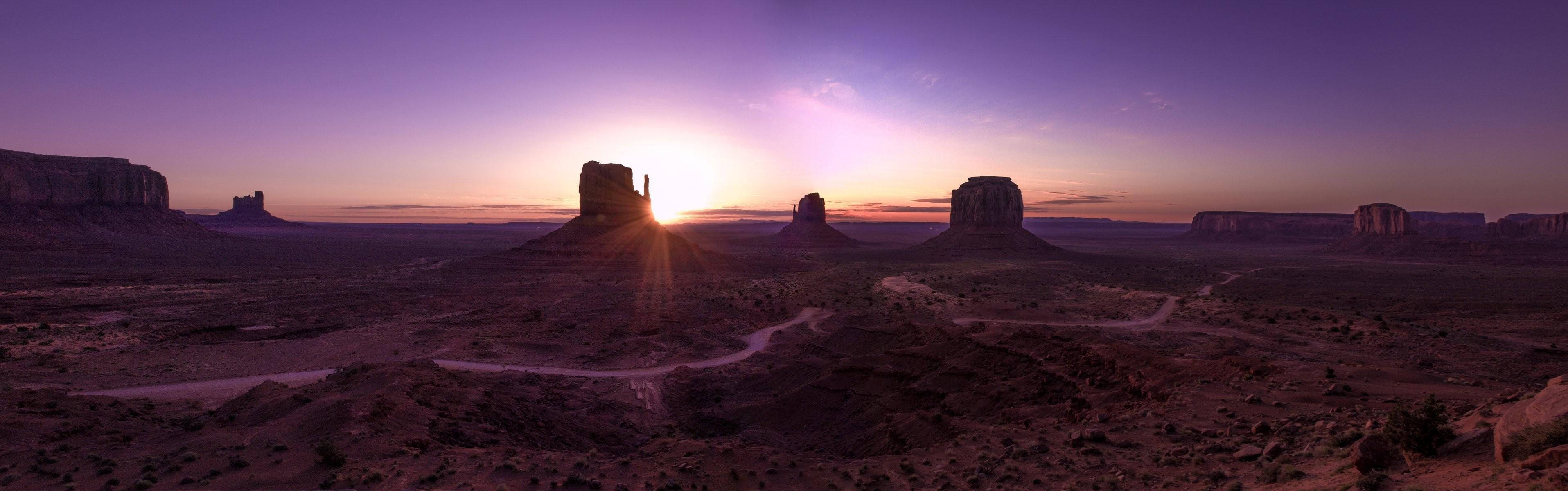 arizona monument valley landscape panorama desert valley mountain dawn