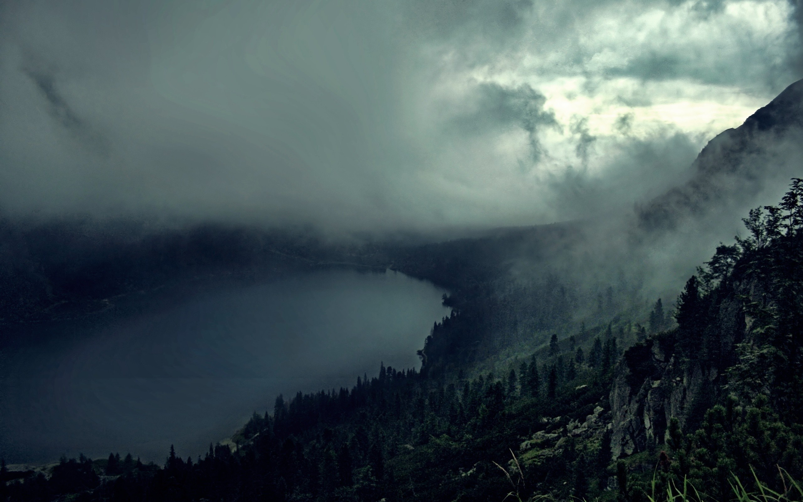 wallpaper.wiki-Dark-foggy-forest-and-lake-pictures-