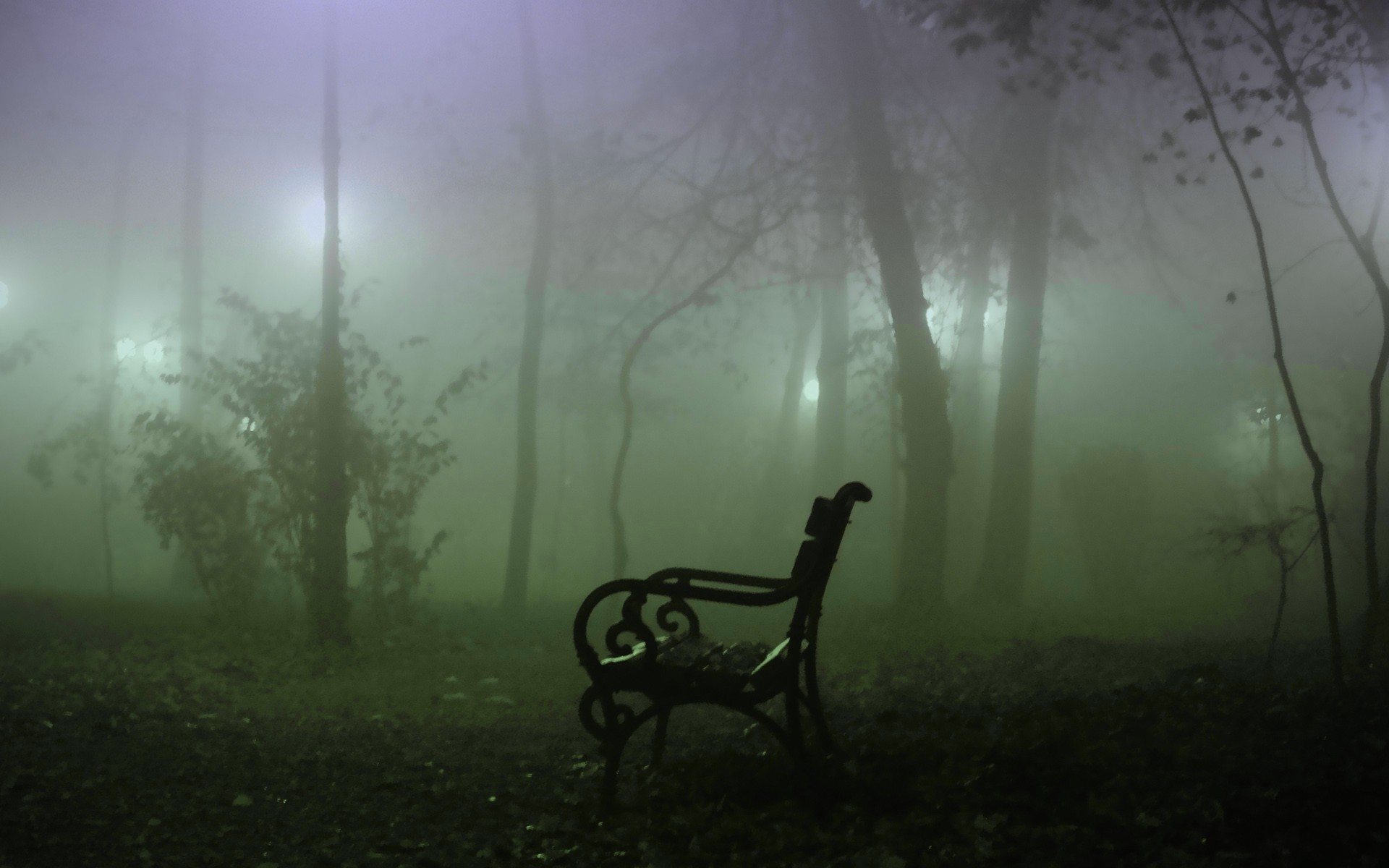 Foggy Forest Bench Wallpaper 13863