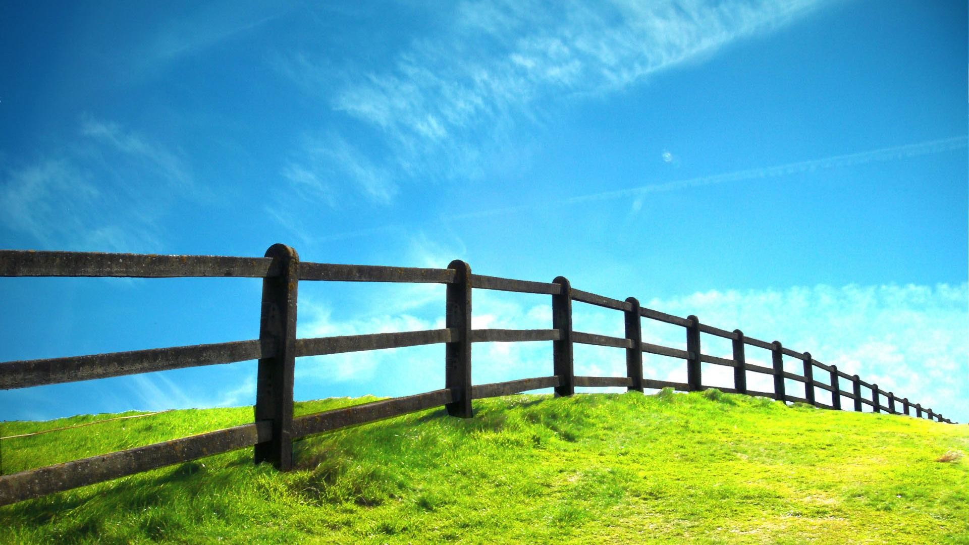 Hd Grassland And Fence Nature Scenery Background Widescreen and HD .