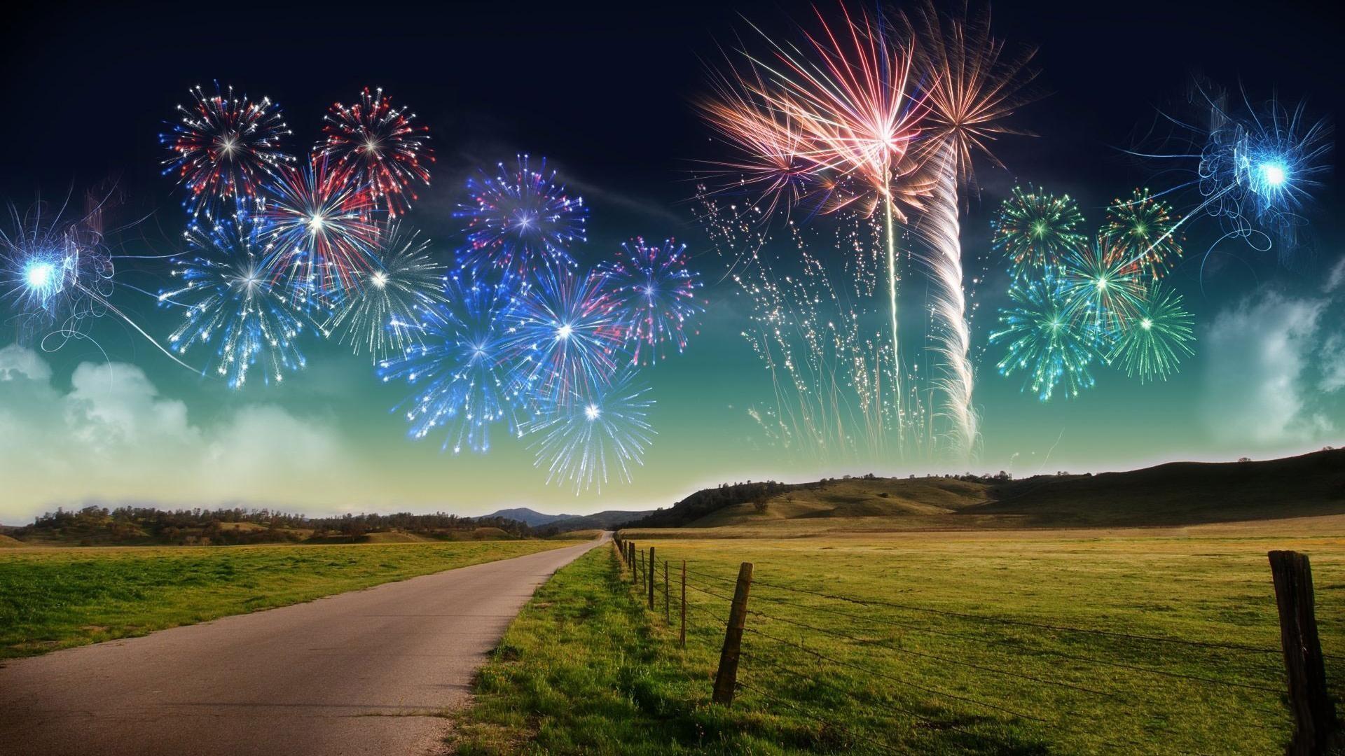 Bright fireworks field scenery wallpaper wide  wallpapers:1280×800,1440×900,1680×1050 – hd