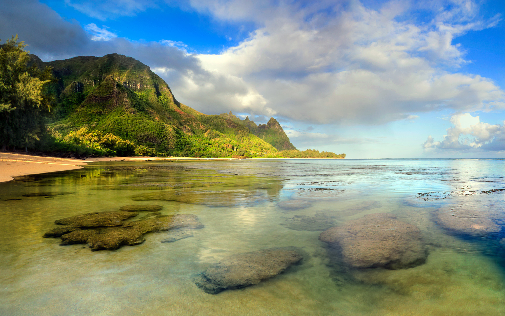 Tunnels Beach seascape with coral reef underwater, Kaua?i