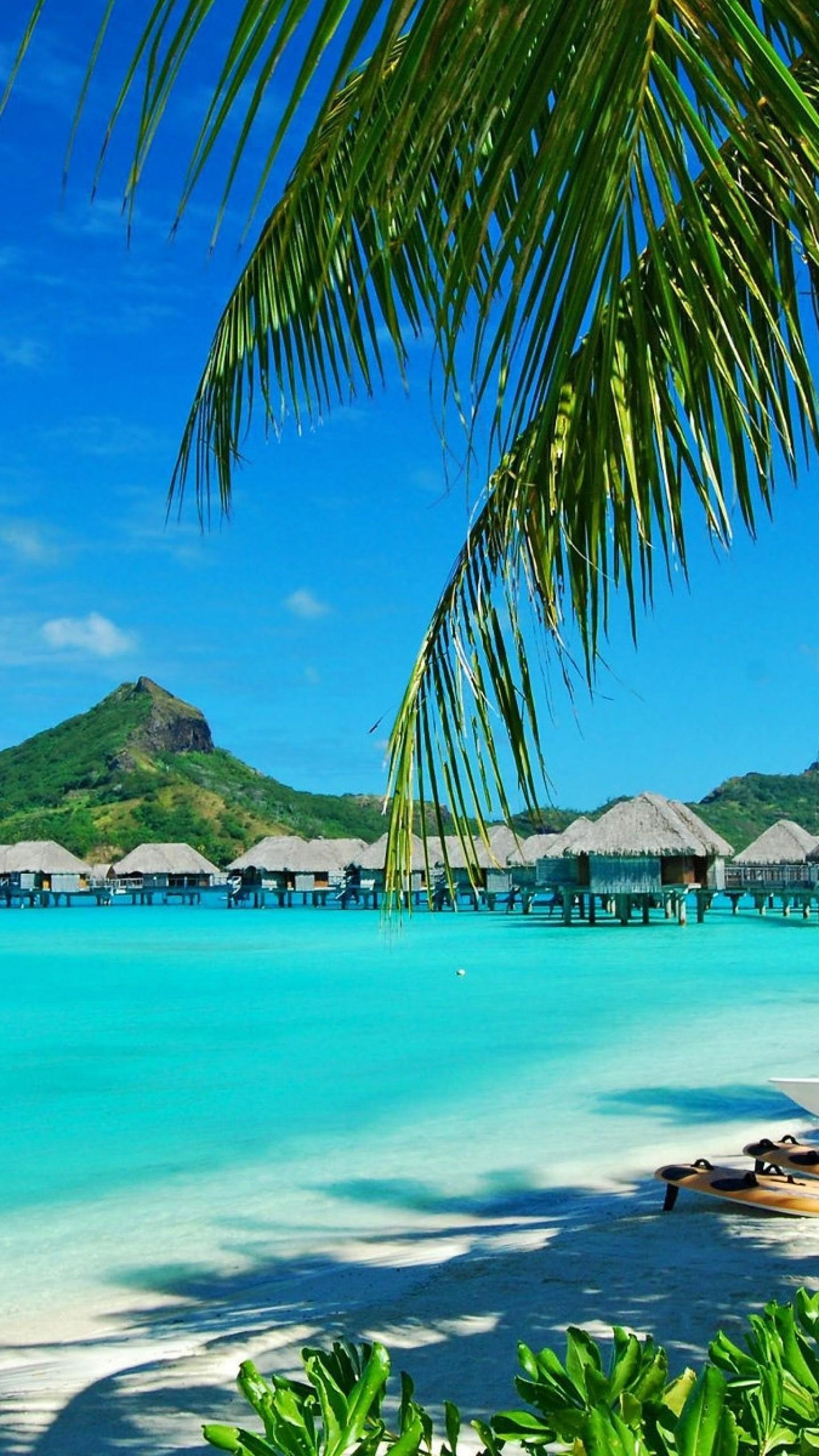 Preview wallpaper hawaii, coast, resort, rest, palm trees, lagoon, blue