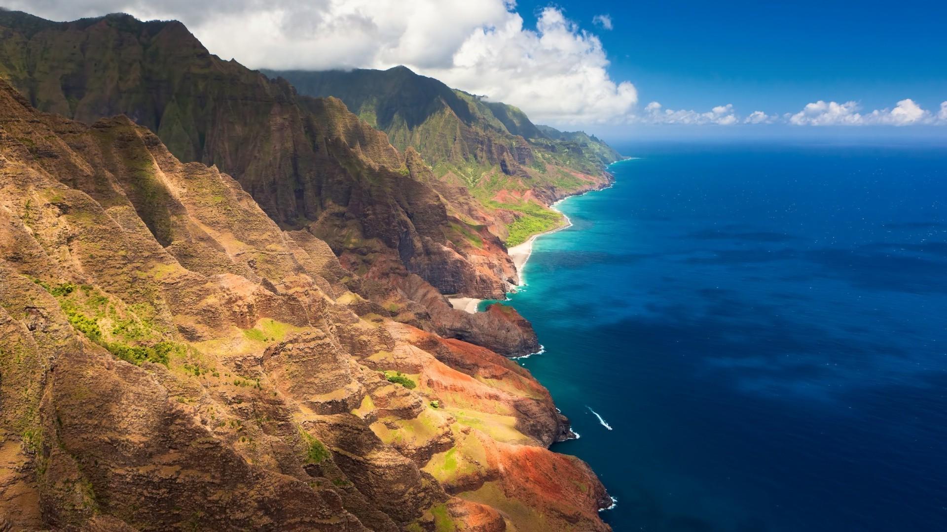 landscape, Na Pali Coast, Coast, Sea, Hawaii Wallpapers HD .