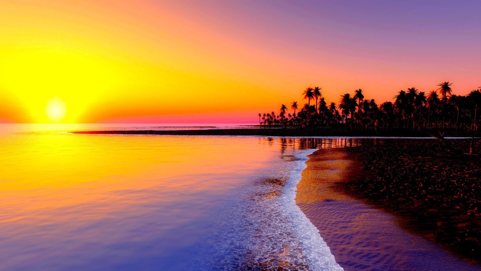 Preview wallpaper beach, tropics, sea, sand, palm trees, sunset 1920×1080