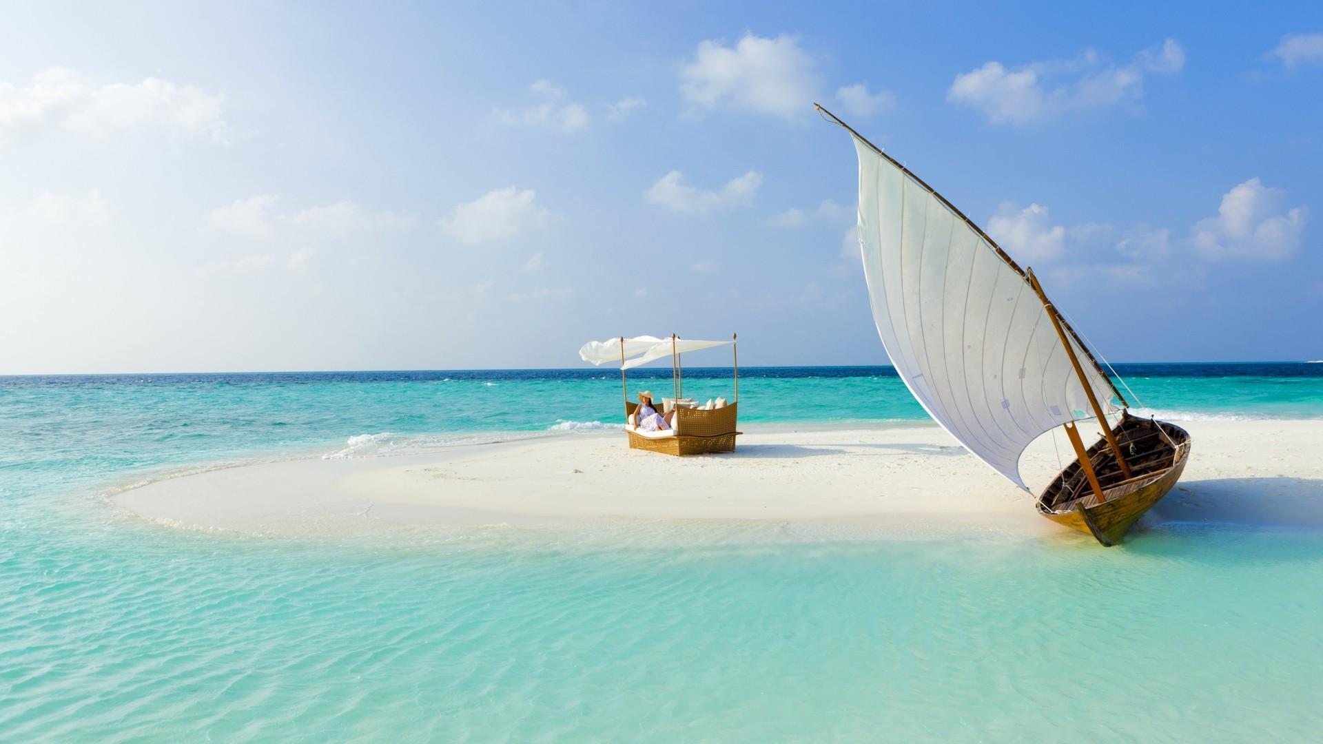 Preview wallpaper maldives, beach, tropical, sea, sand, island, boat,