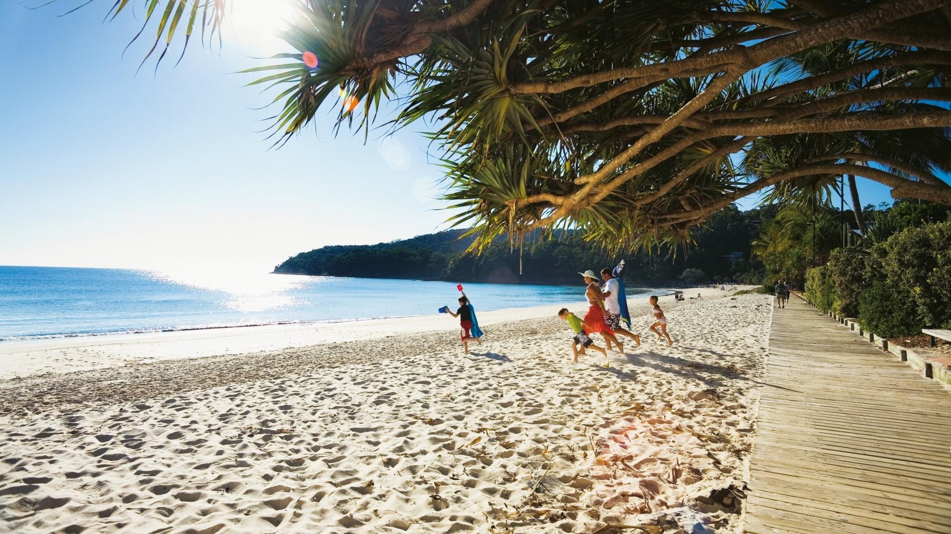 Wallpaper beach, tropics, sea, sand, people