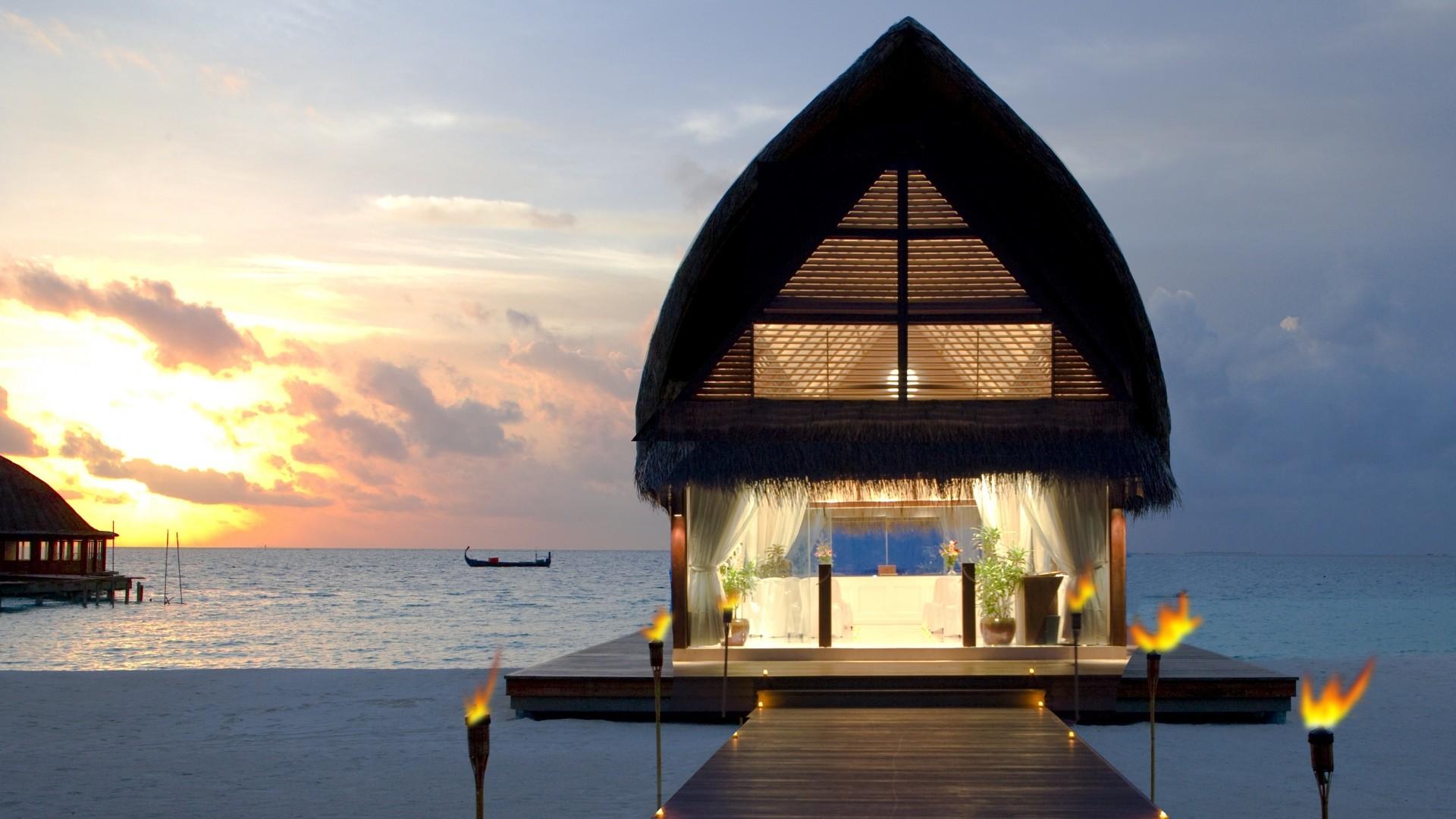 Wallpaper maldives, beach, tropical, sea, sand, bungalows