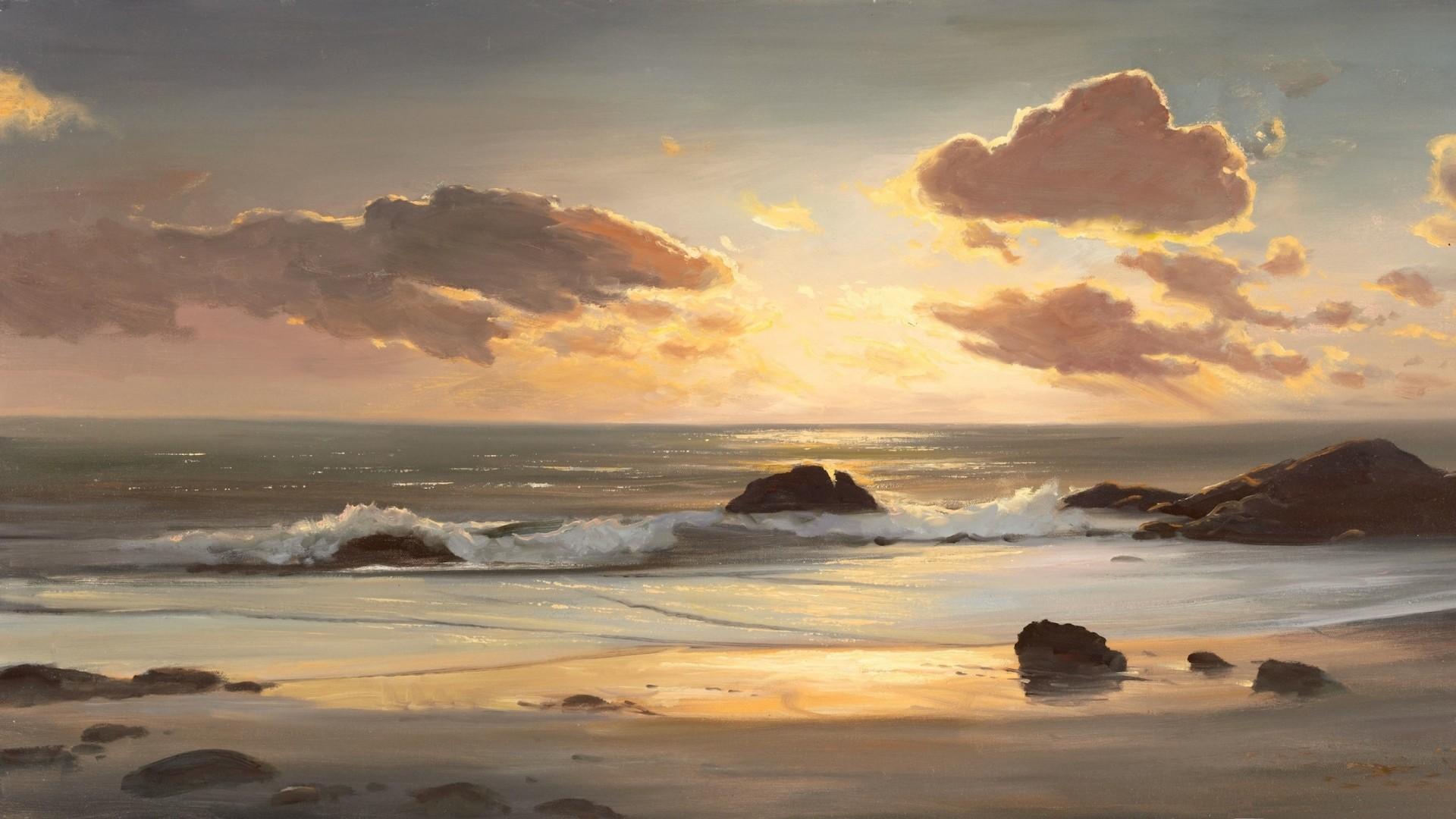 Wallpaper landscape, sea, coast, ocean, painting, art, beach