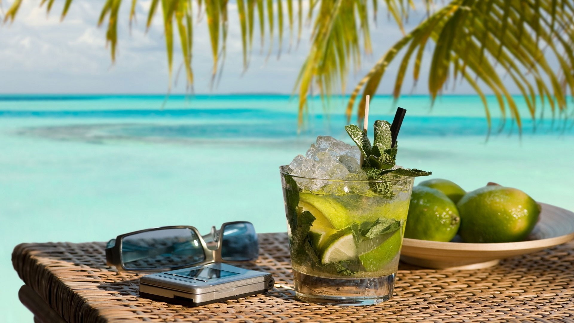 Wallpaper mojito, cocktail, phone, points, beach