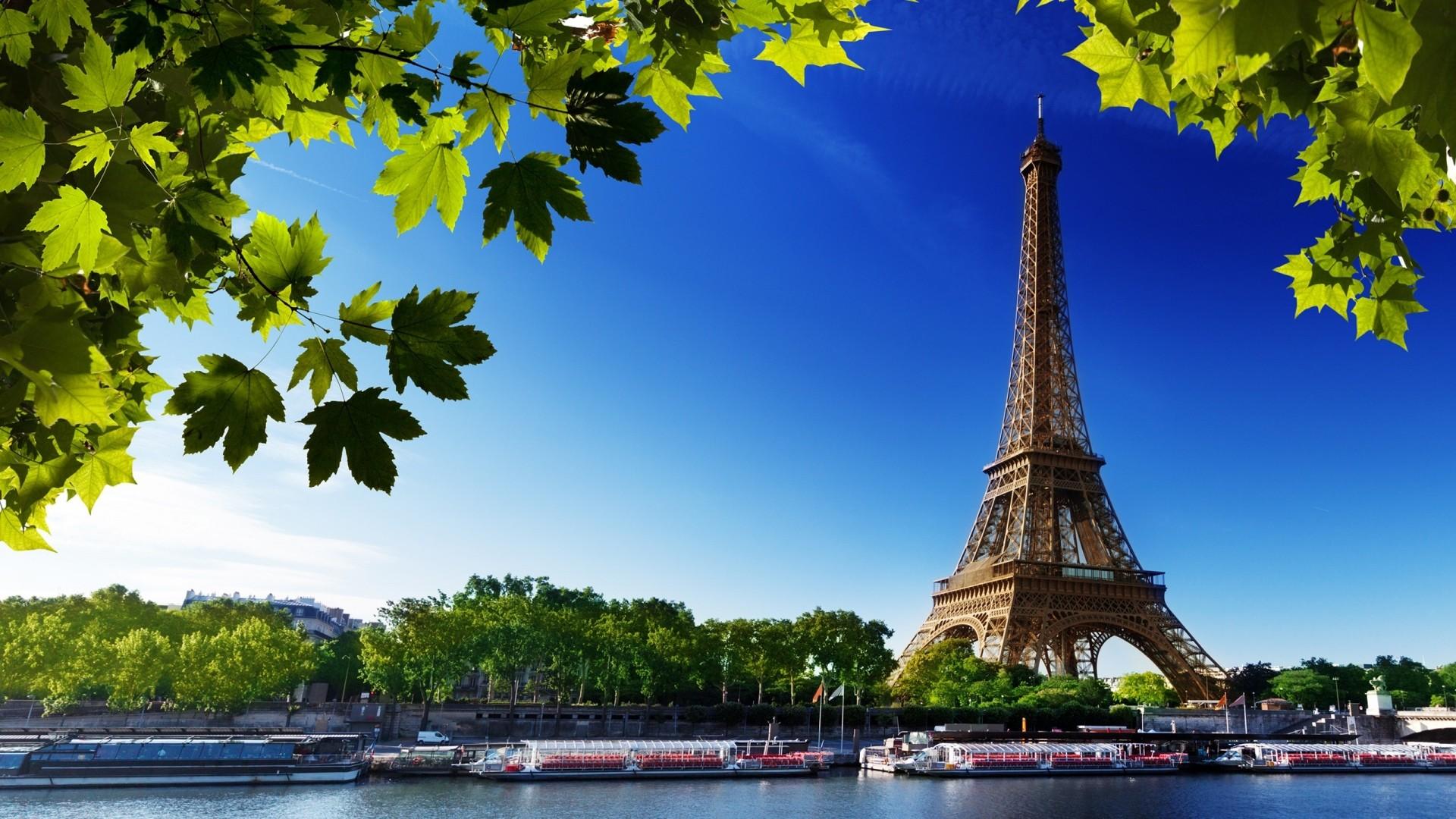 Wallpaper paris, eiffel tower, france, river, beach, trees