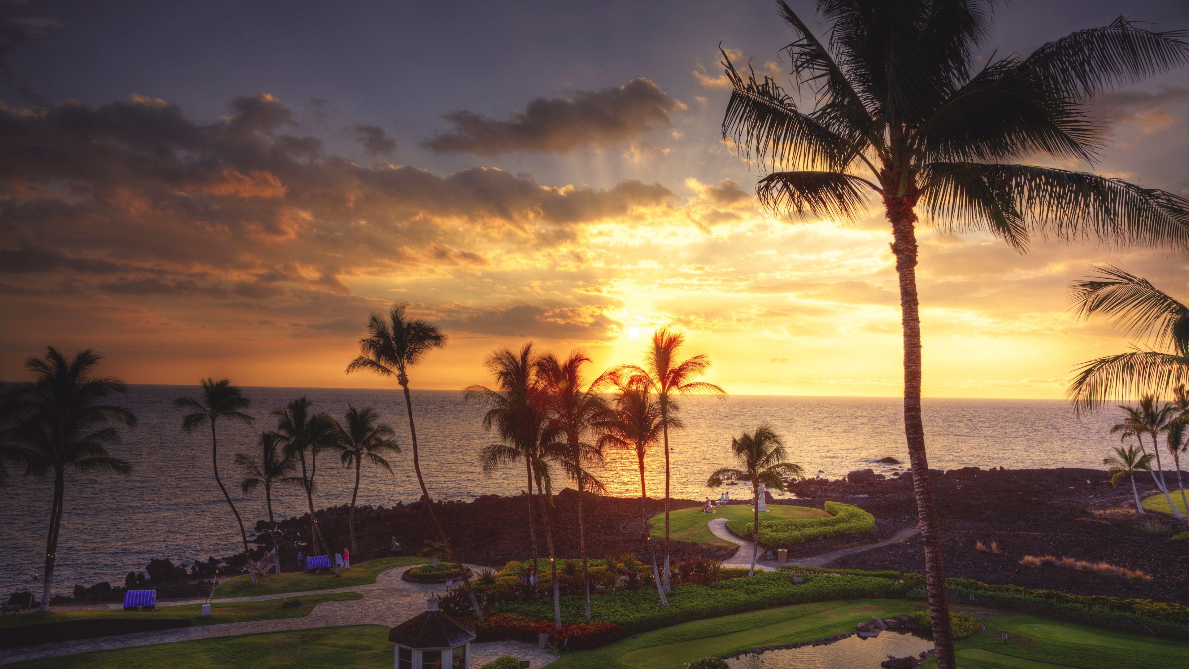 Wallpaper: Sunset from Hawaiian Resort. Ultra HD 4K 3840×2160