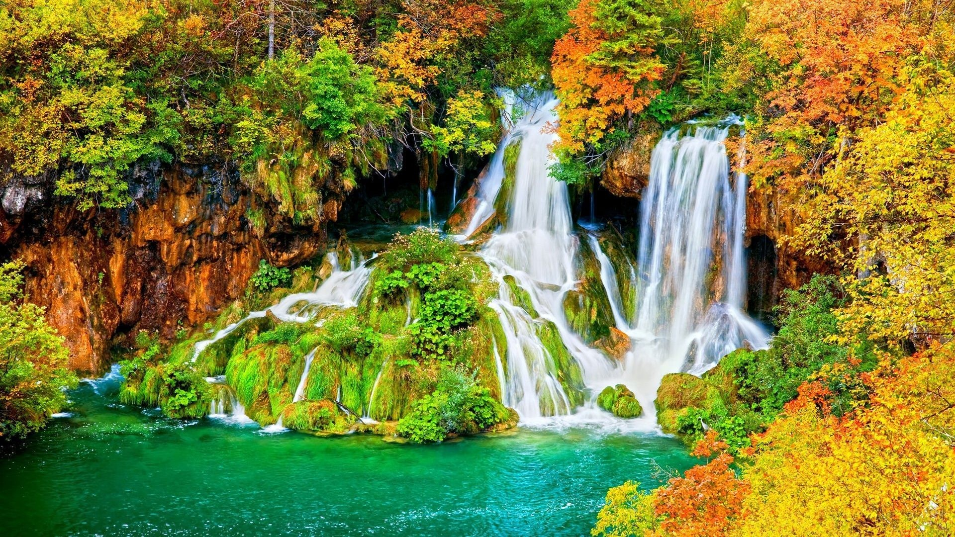 Waterfall Autumn Nature Waterfalls Animated Wallpaper