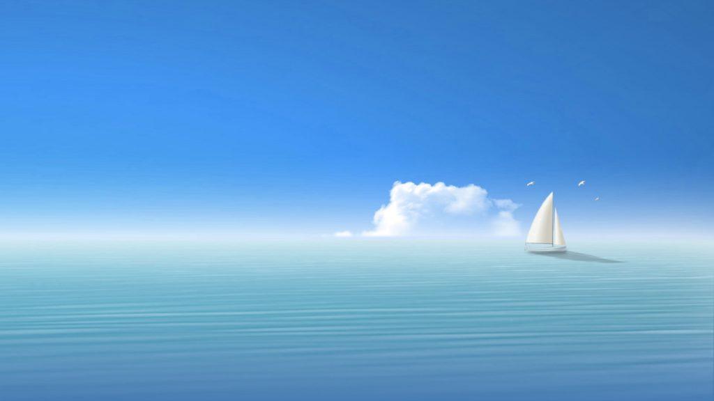 Wallpaper blue, sea, ship, sky