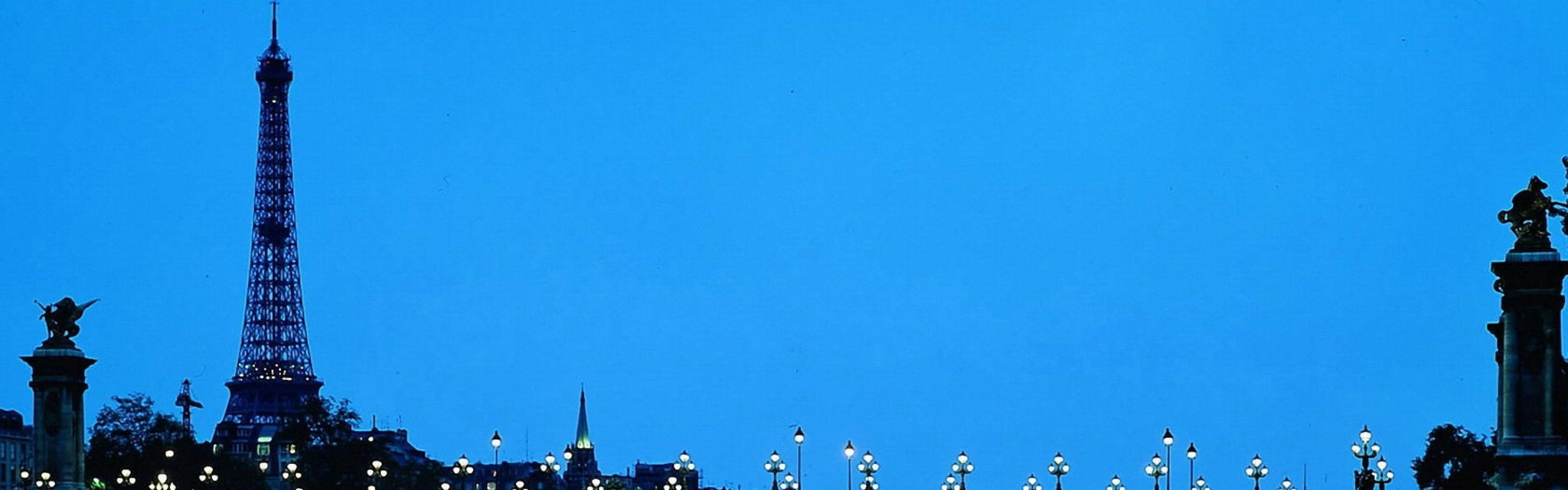 Wallpaper paris, france, eiffel tower, bridge, water, blue sky,