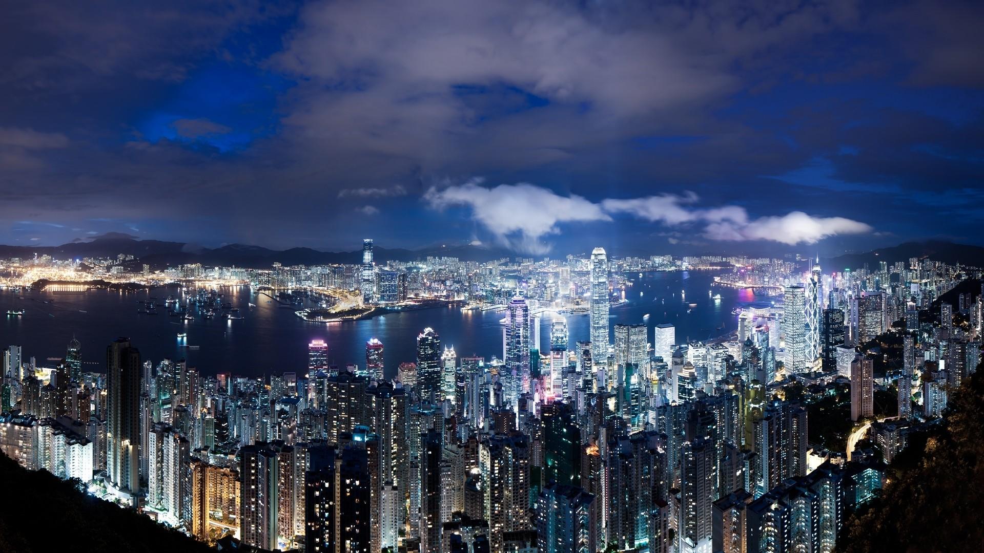 Wallpaper hong kong, china, night, metropolis, skyscrapers,  lights, blue
