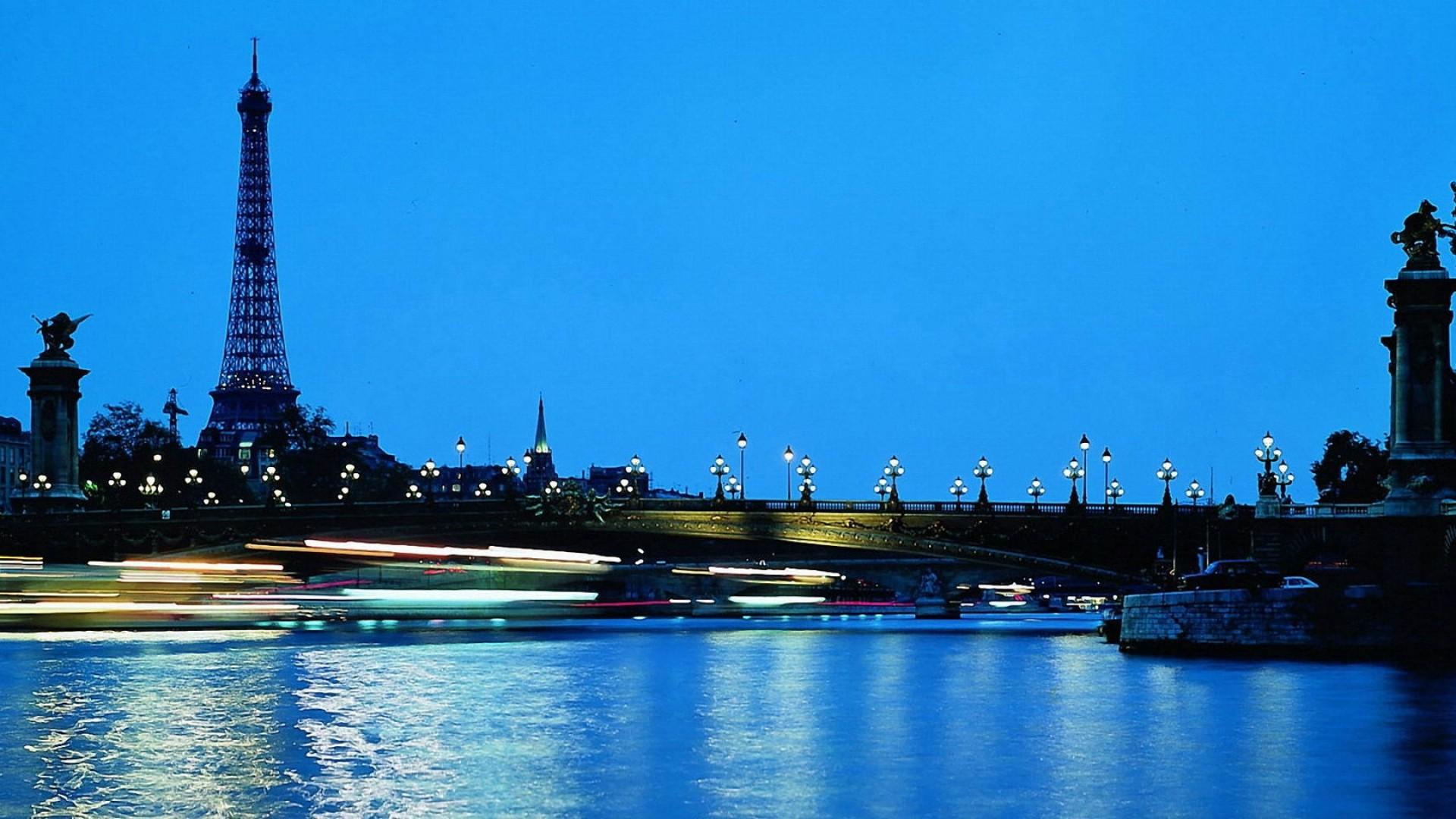 Preview wallpaper paris, france, eiffel tower, bridge, water, blue sky,
