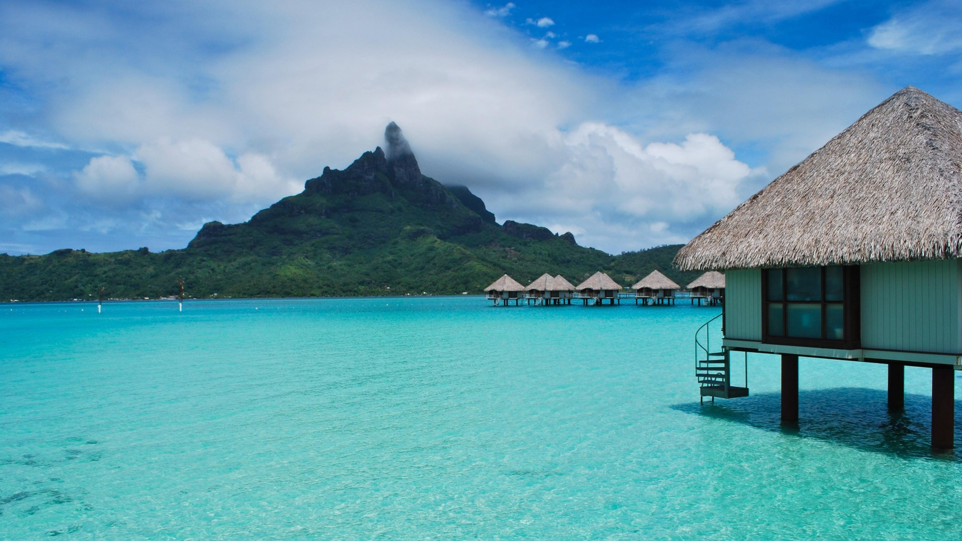Wallpaper tropical, bungalows, sea, beautiful, summer