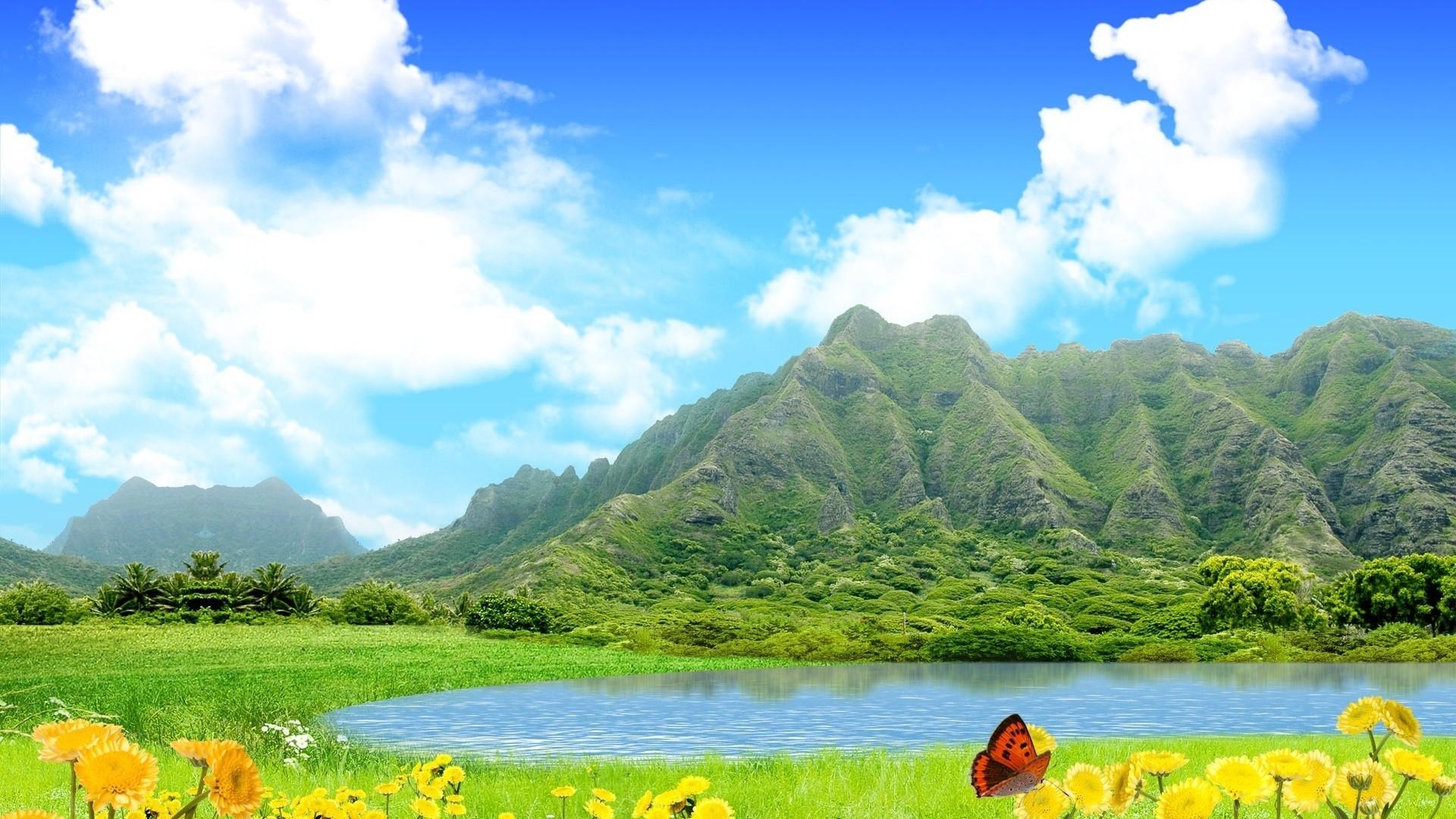 Wallpaper mountains, lake, sky, flowers, butterfly, summer