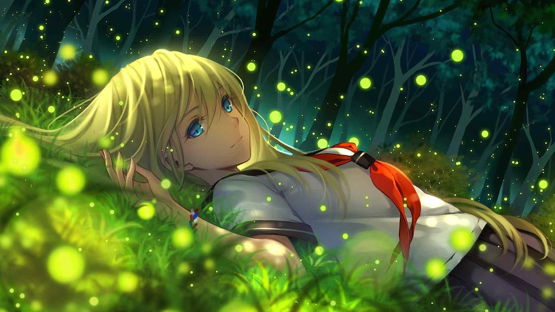 Wallpaper everlasting summer, girl, anime, grass