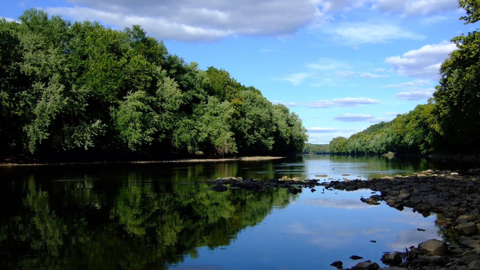 Wallpaper stones, river, trees, coast, summer, clouds