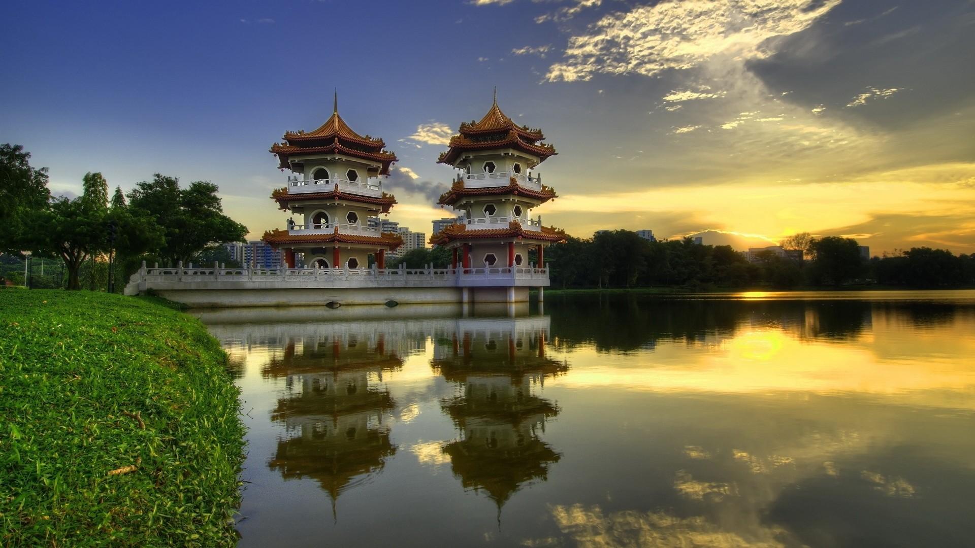 Wallpaper china, pagodas, lake, evening, summer