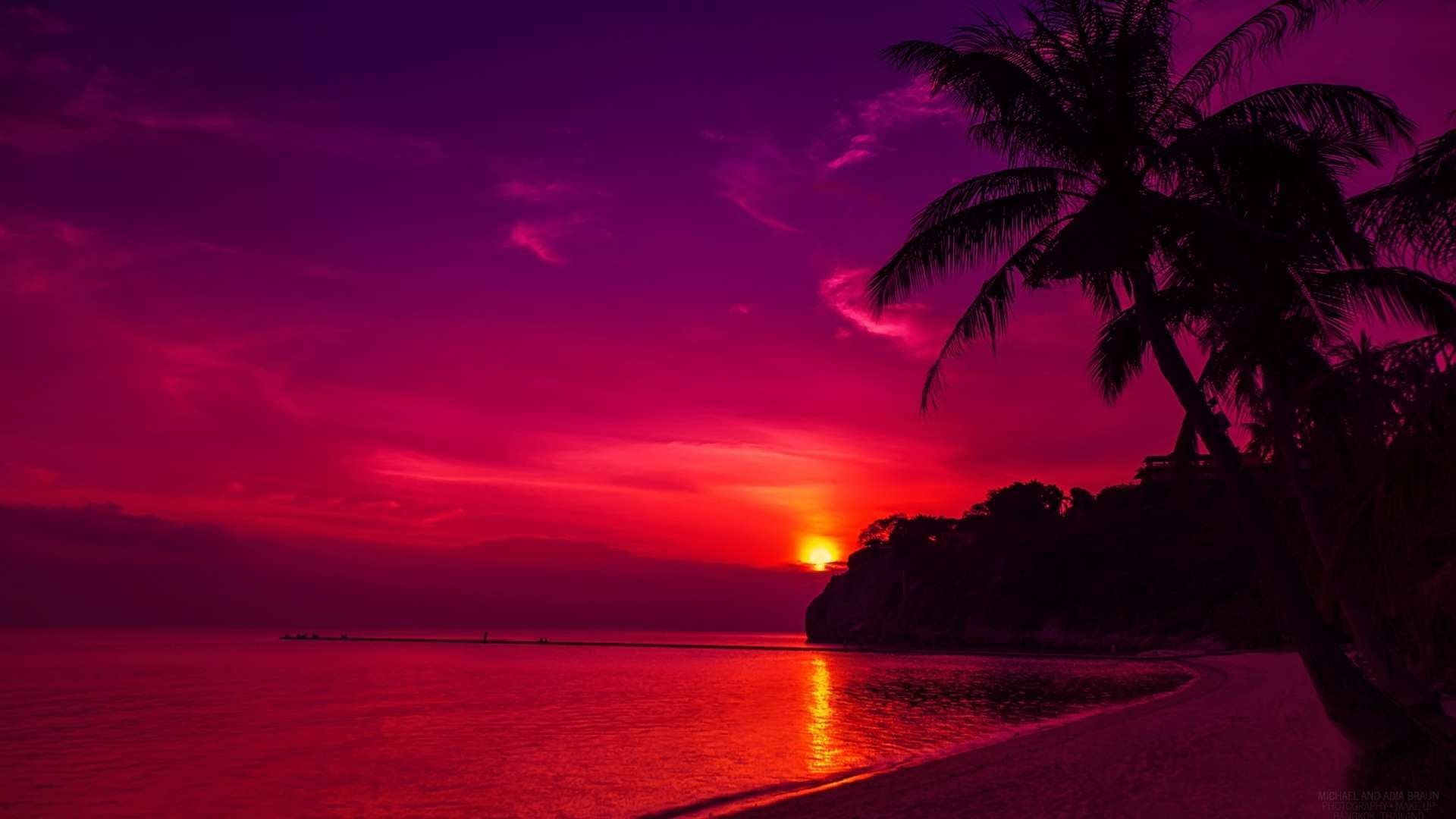Wallpapers For > Hd Beach Sunset Wallpapers 1080p