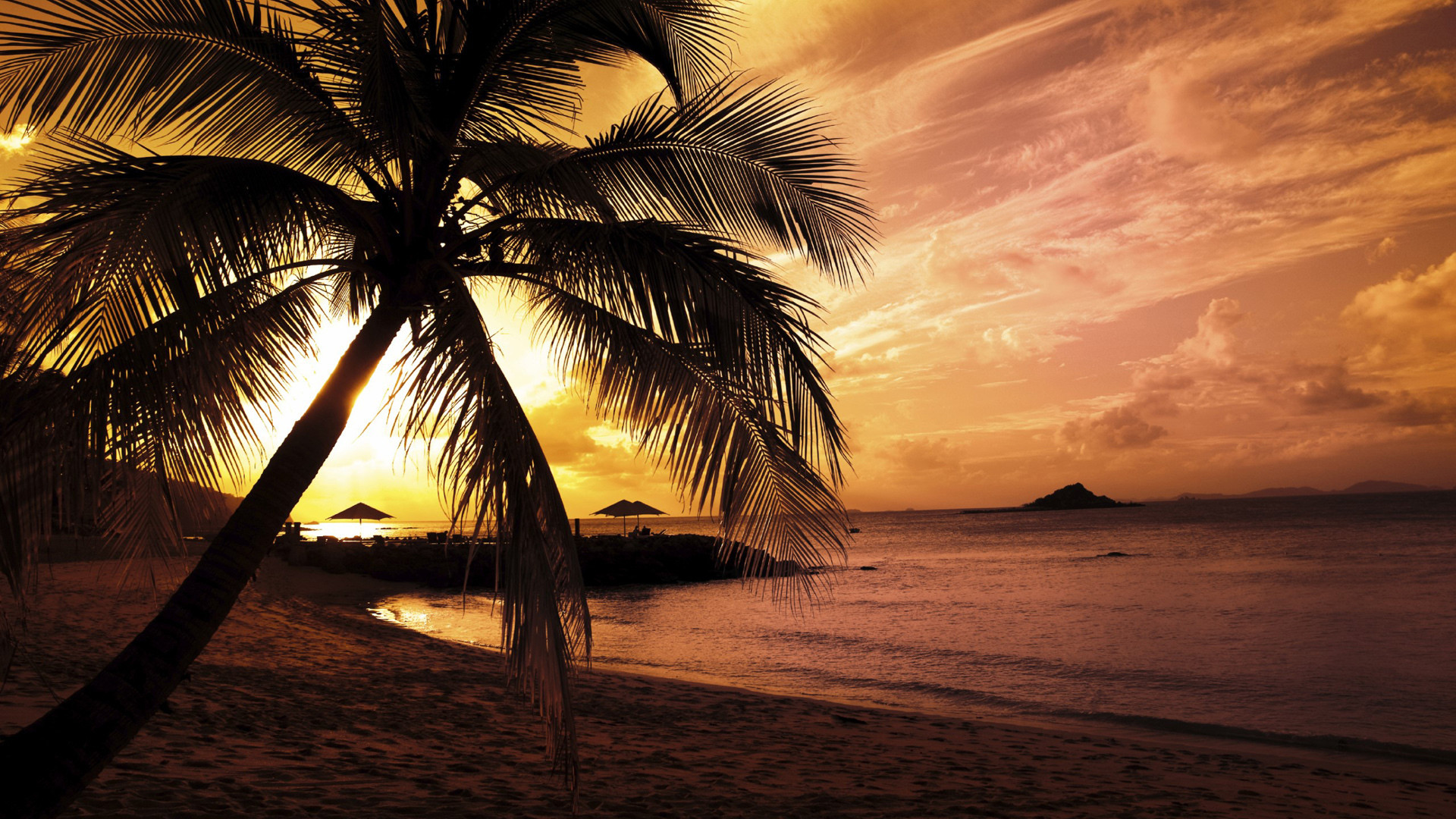 Full HD Nature Wallpapers 1080p Desktop with Sunset in Beach