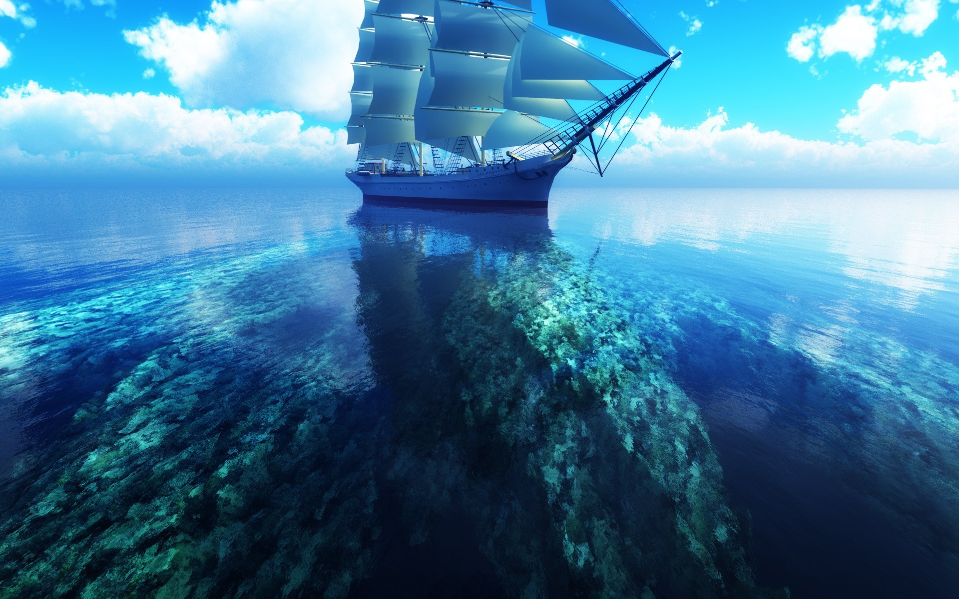Clouds sea ships digital art skyscapes coral reef wallpaper | |  13872 | WallpaperUP