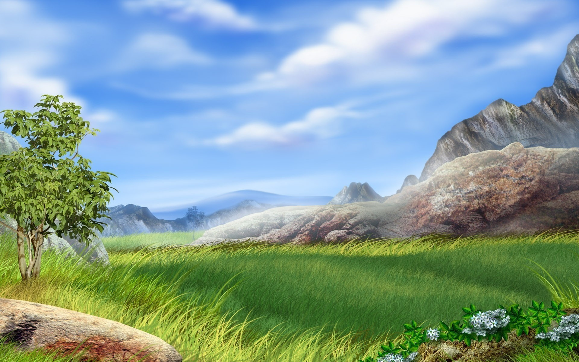 3D Rock Mountains Grass Desktop Wallpaper Nature HD