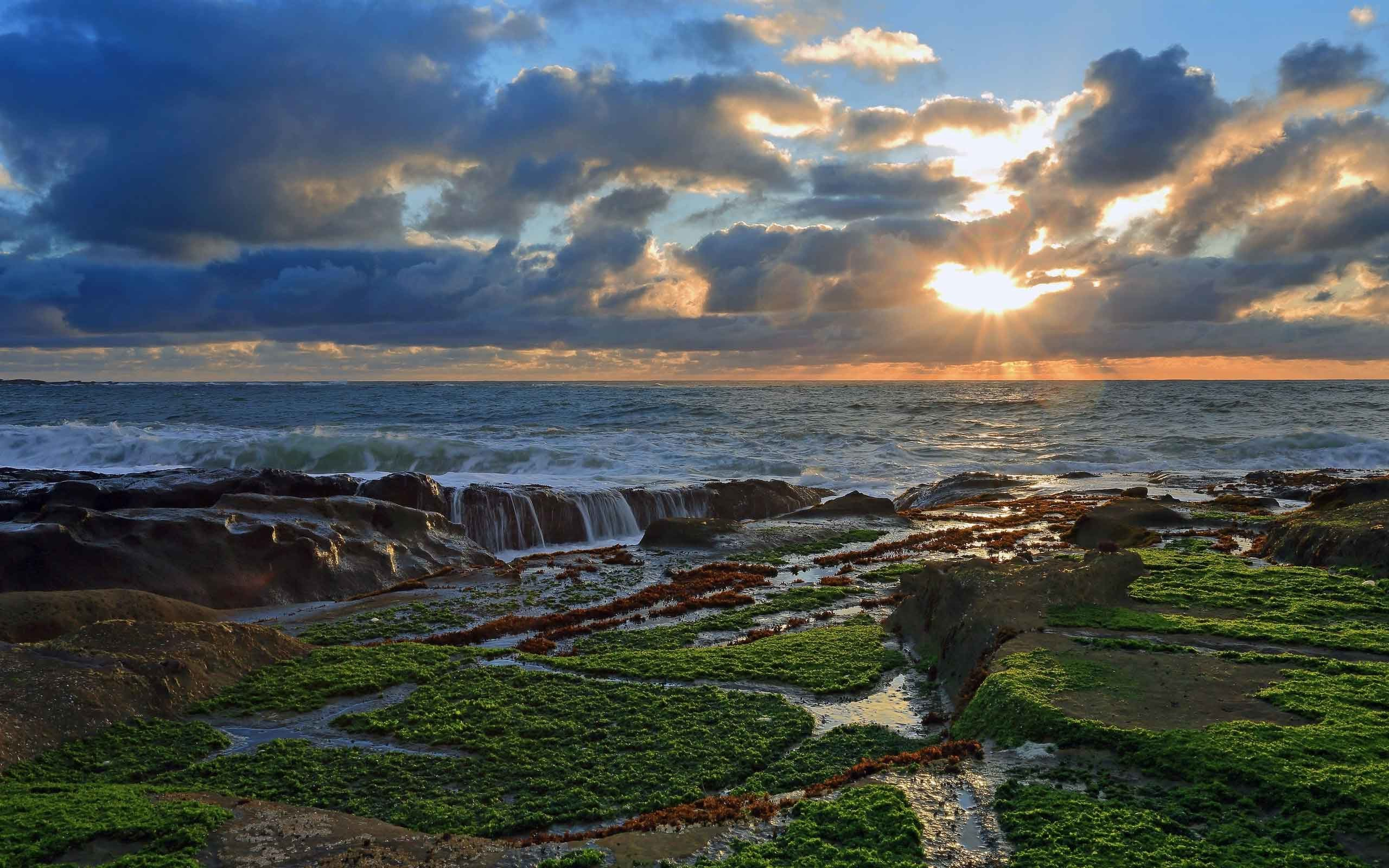 Sunrise Sunset Coast Clouds Rocks Ocean Desktop Wallpaper Nature Scenes