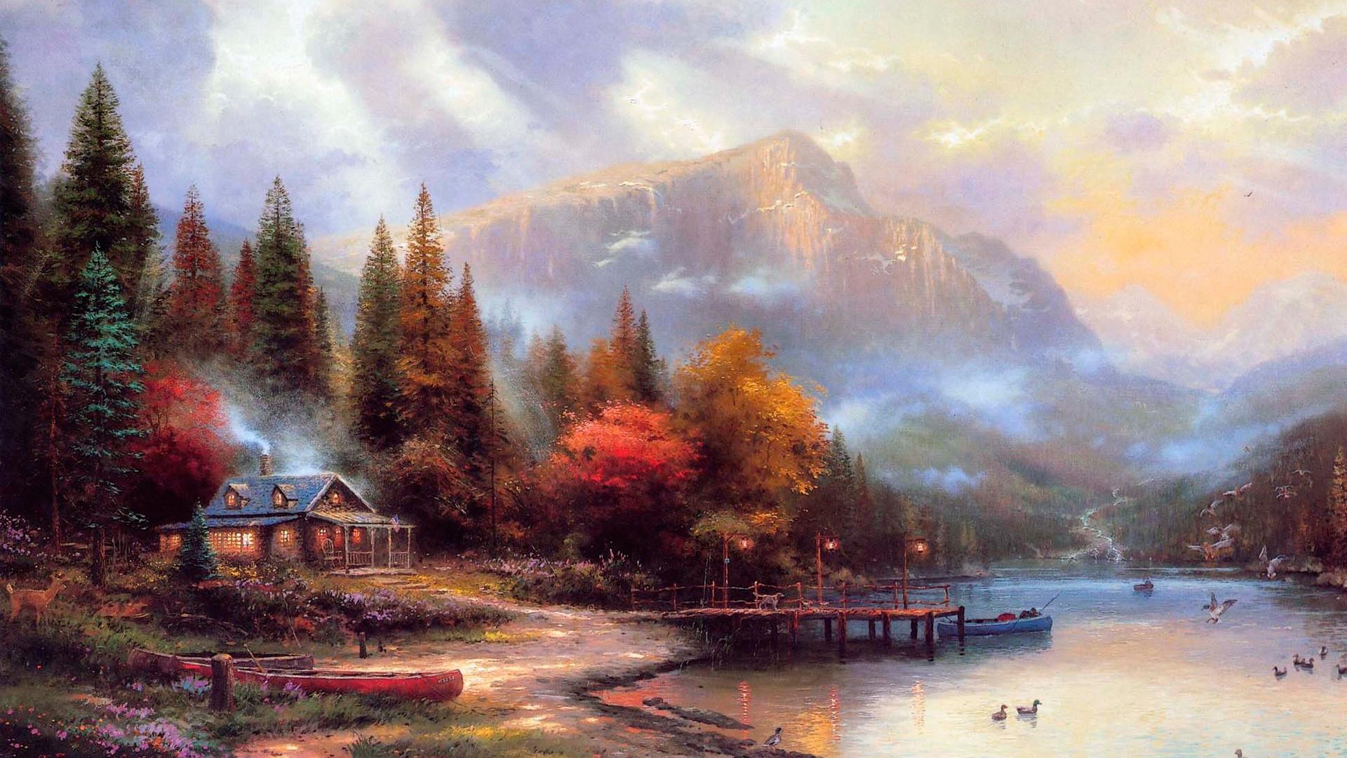 Thomas Kinkade Autumn Paintings, scene, winter, nature, abstract .