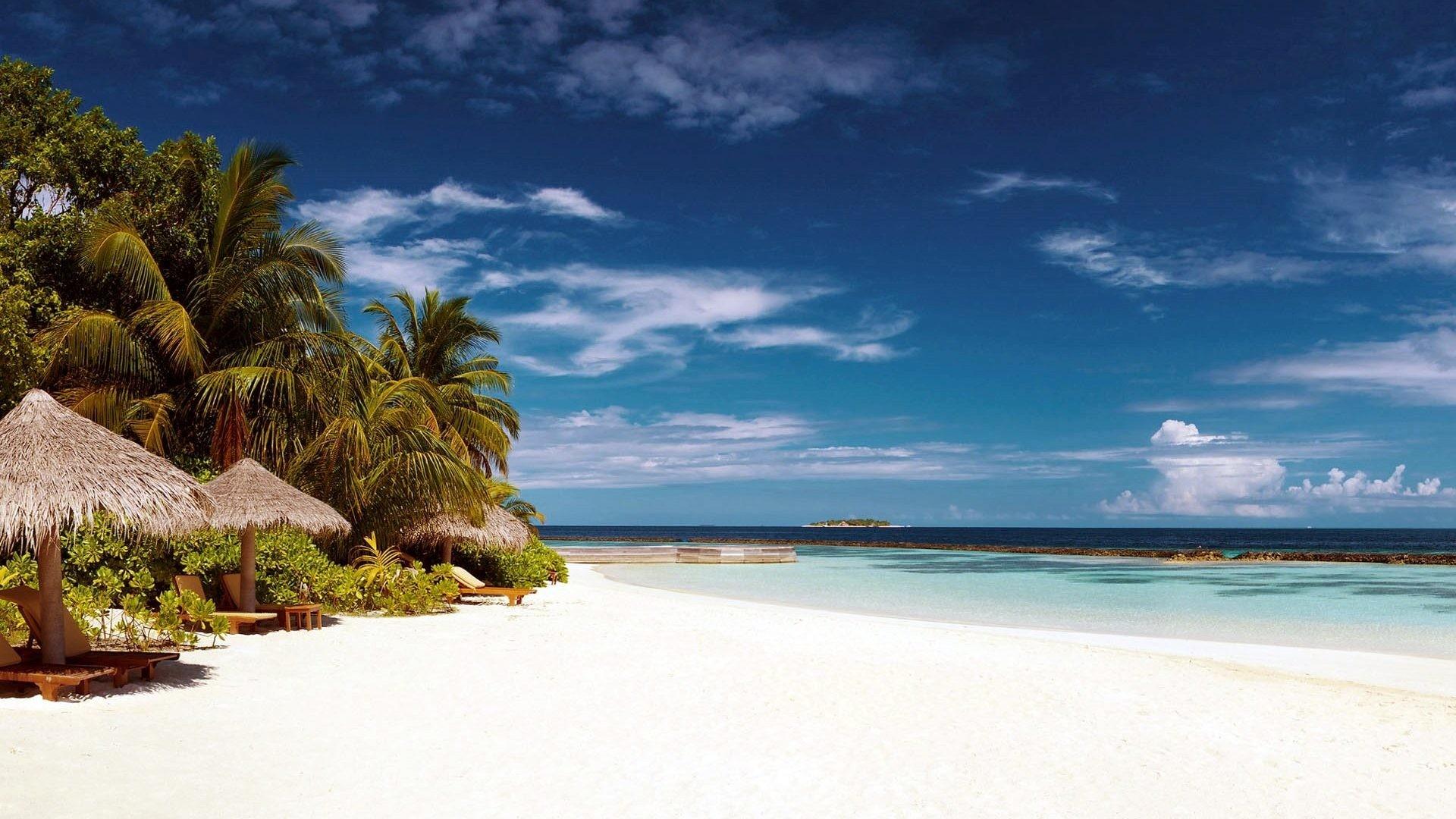 Sand Clouds Sunshades Sea Sky Beautiful Trees Summer Tropical Palm Beach  Caribbean White Wallpaper Tablet – 1920×1084