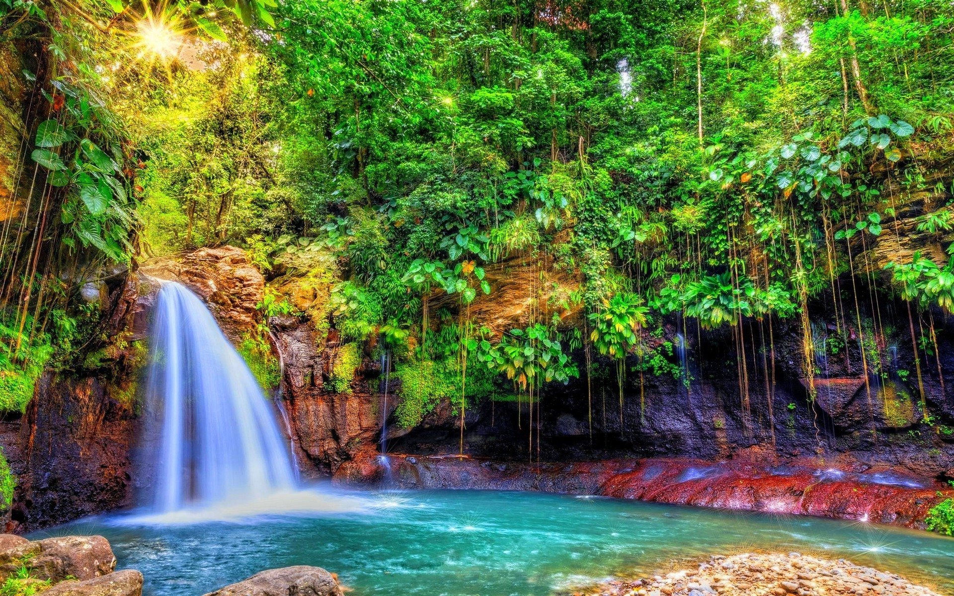 nature, Landscape, Waterfall, Forest, Sun Rays, Shrubs, Colorful, Trees,  Tropical, Guadeloupe, Island, Caribbean Wallpapers HD / Desktop and Mobile  …