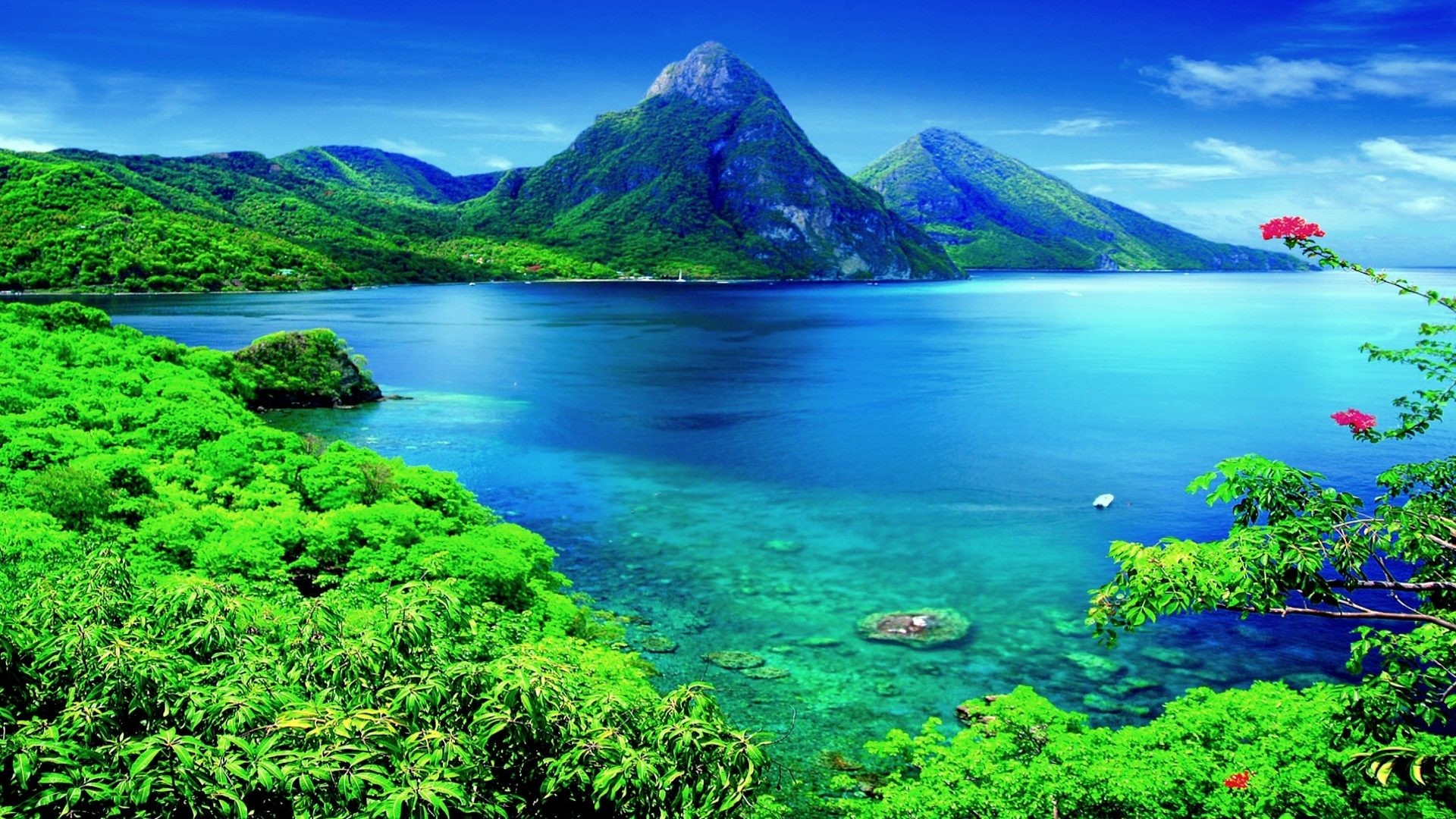 #66CCCC Color – Pitons Lucia Heritage Site Caribbean Apple Wallpaper  Mountain for HD 16: