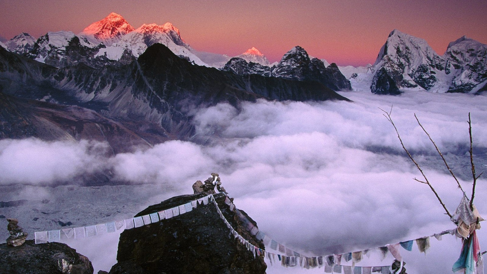 Preview wallpaper peak, top, mountains, ropes, fabric, nepal, everest  1920×1080