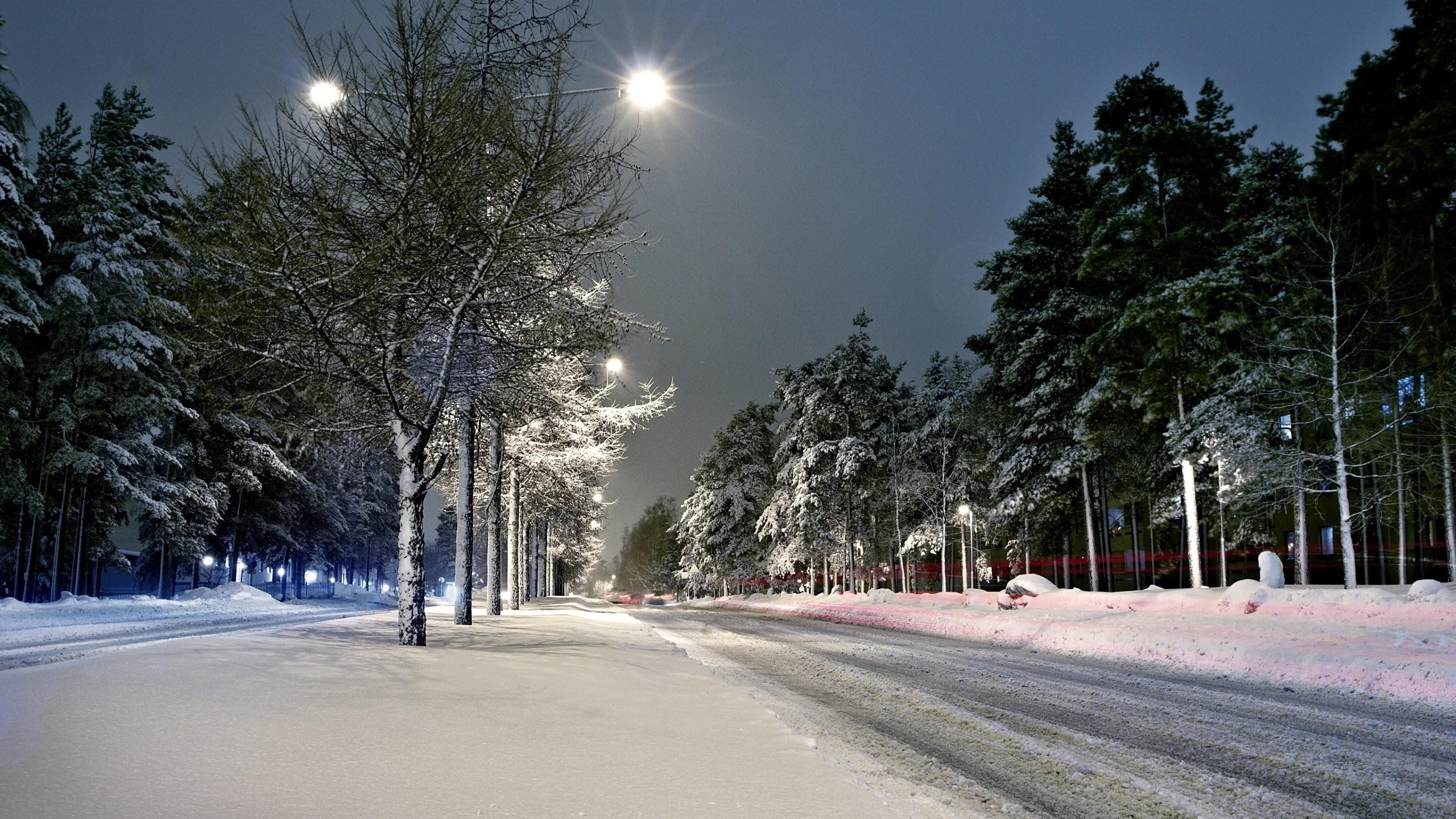 Wallpaper: Street Lights Winter Snow Scenery