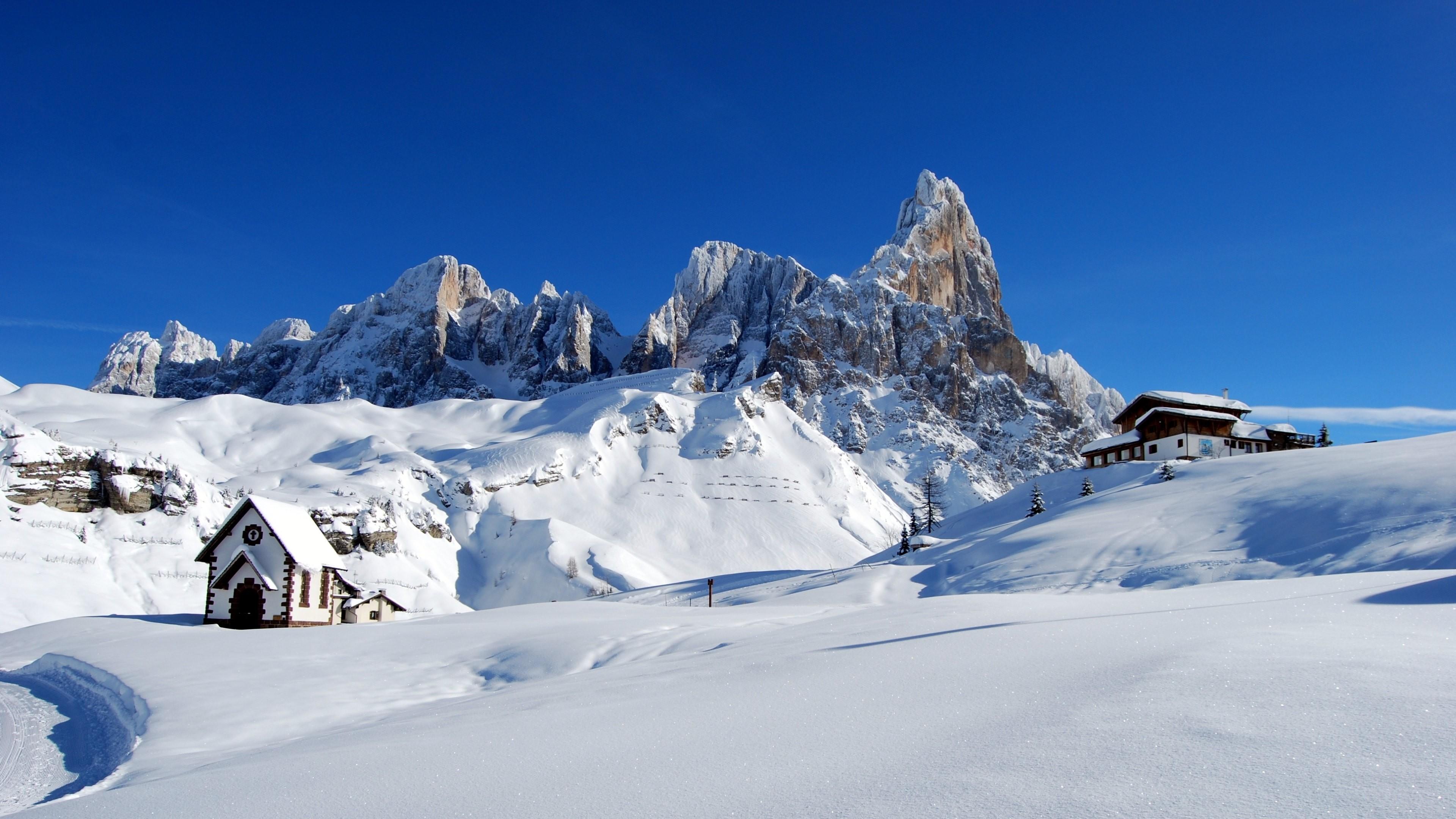 4K HD Wallpaper: Dolomites. Alps Italy. Winter Snow