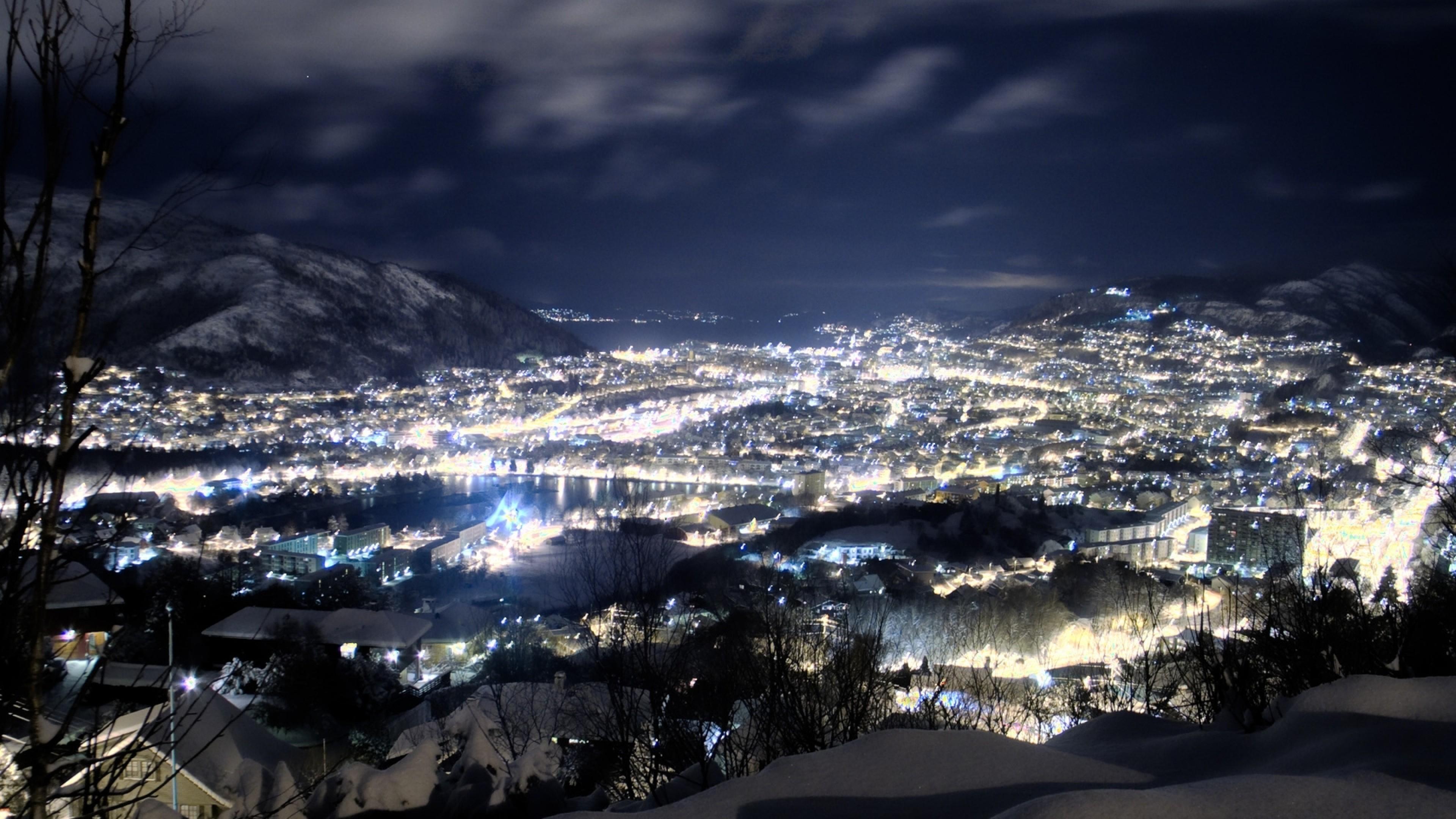 Wallpaper night, snow, height, city, winter